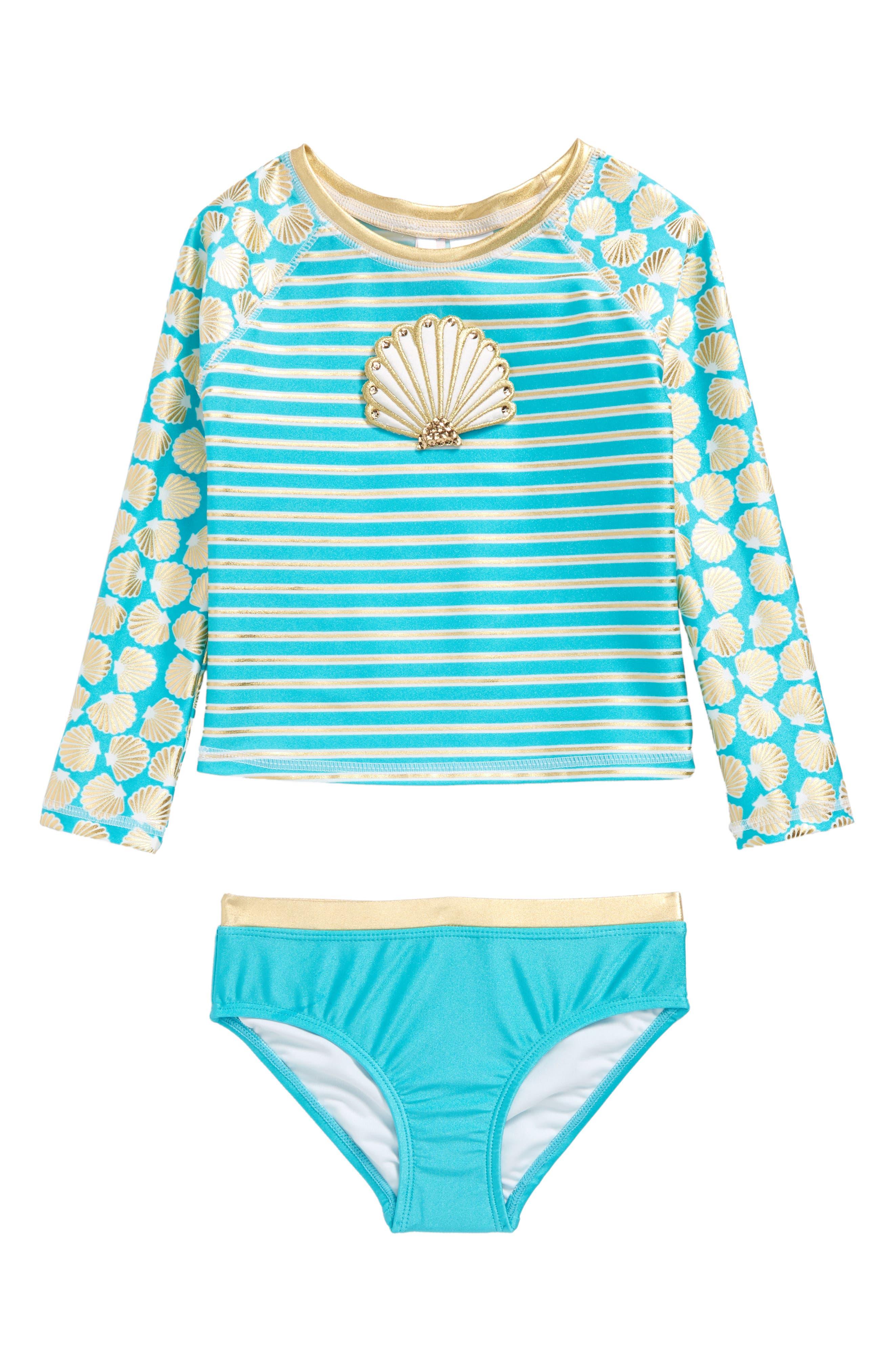 Main Image - Love U Lots Seashell Stripe Two-Piece Rashguard Swimsuit (Toddler Girls & Little Girls)