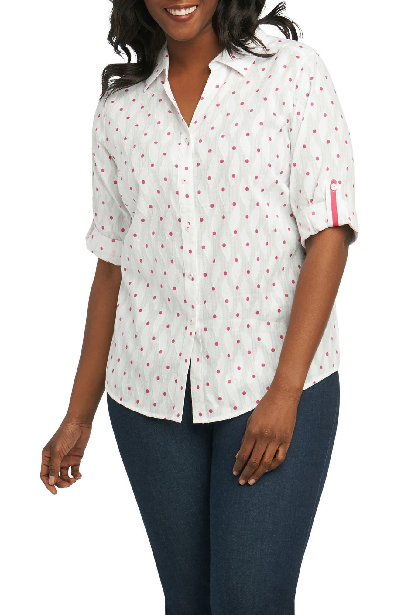 Foxcroft Tereese Clipped Dobby Dot Shirt