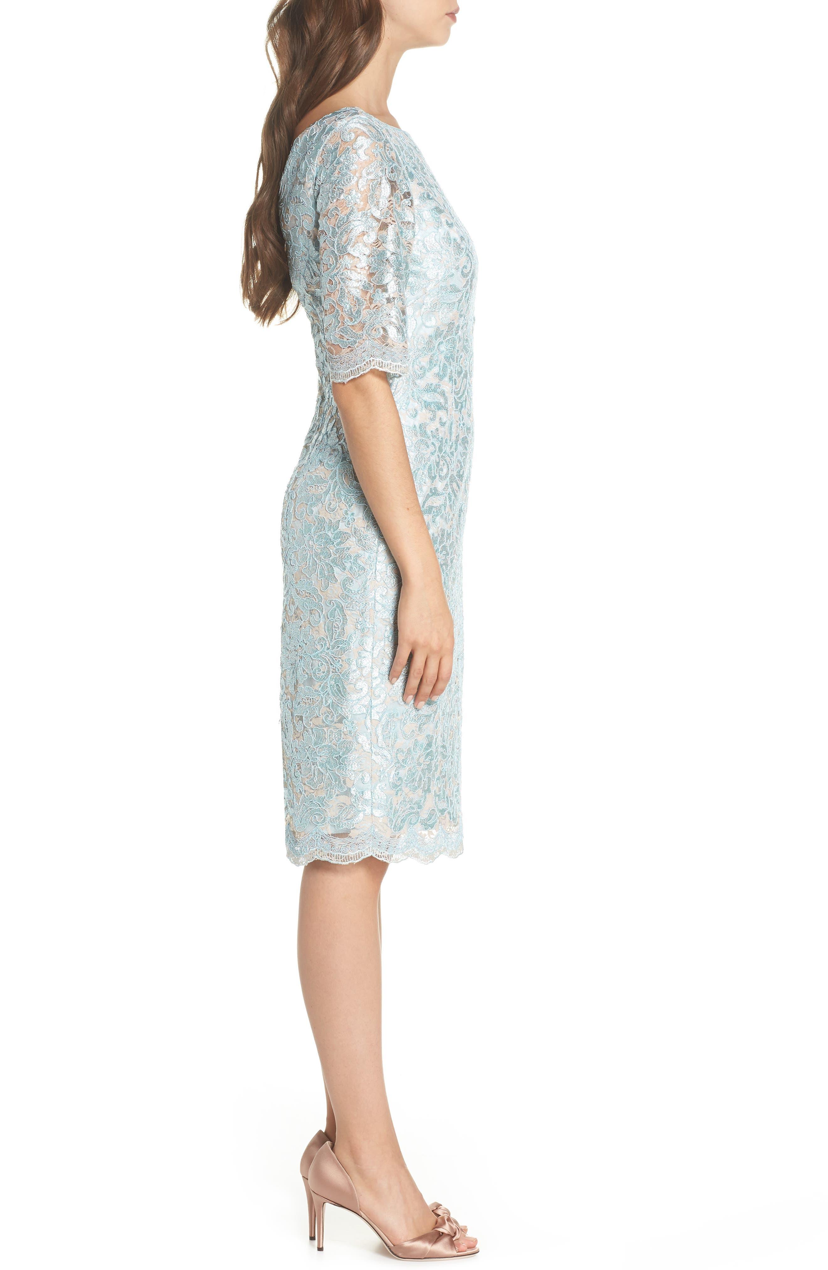 Lace Sheath Dress,                             Alternate thumbnail 3, color,                             Mint