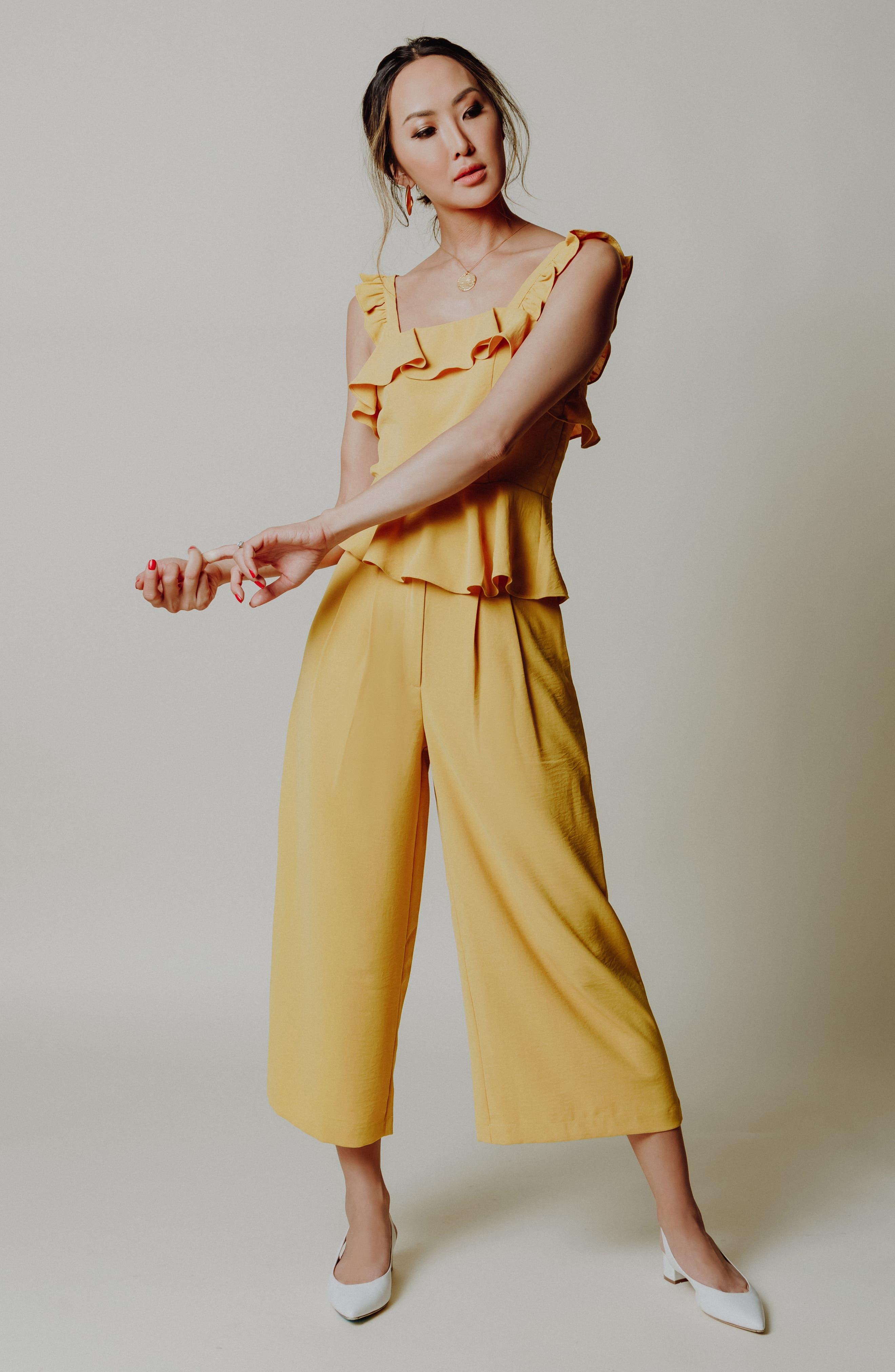Chriselle x J.O.A. Pleat High Waist Crop Wide Leg Pants,                             Alternate thumbnail 9, color,                             Roman Gold