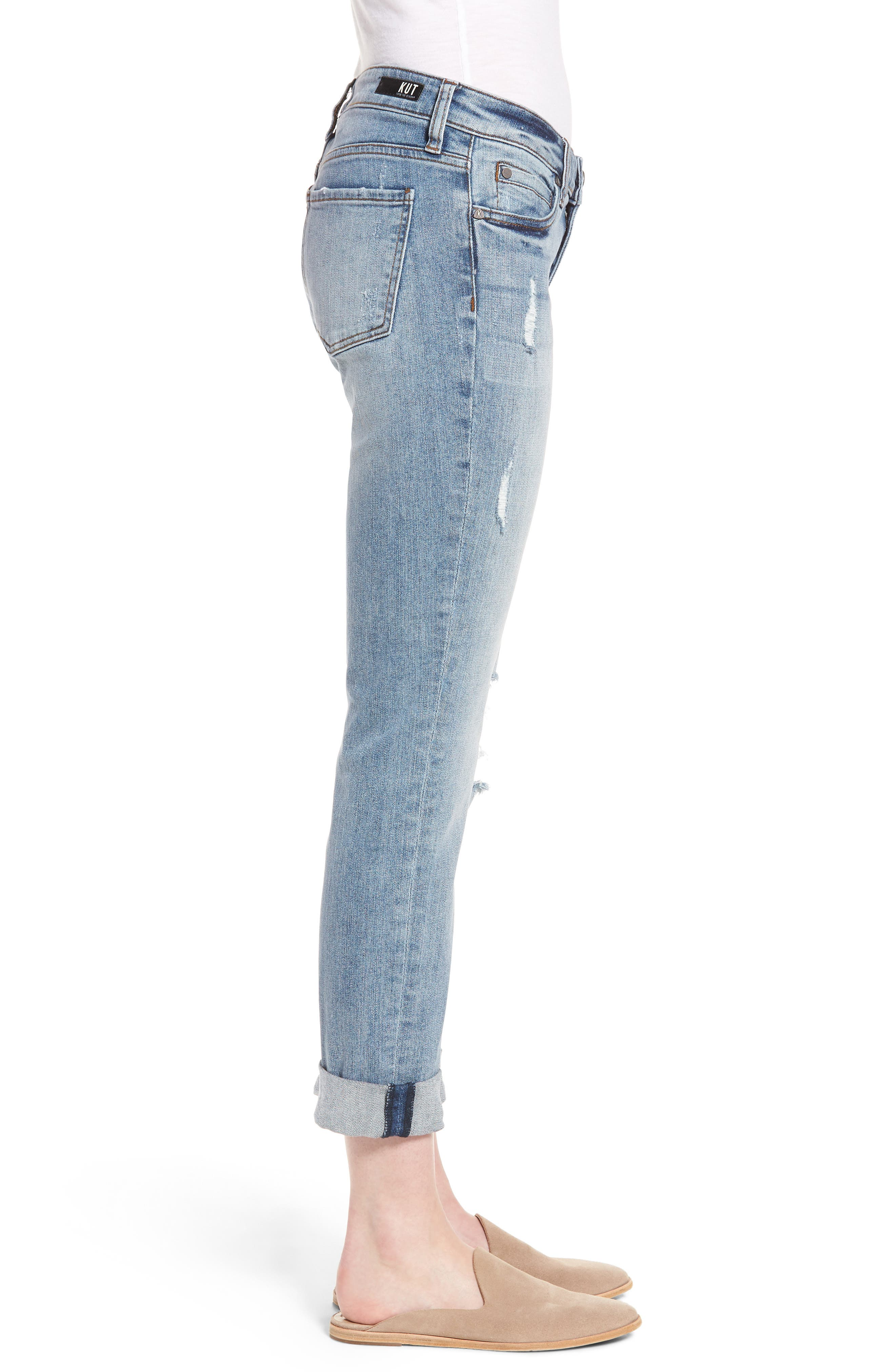 Alternate Image 3  - KUT from the Kloth Catherine Distressed Boyfriend Jeans (Announce)