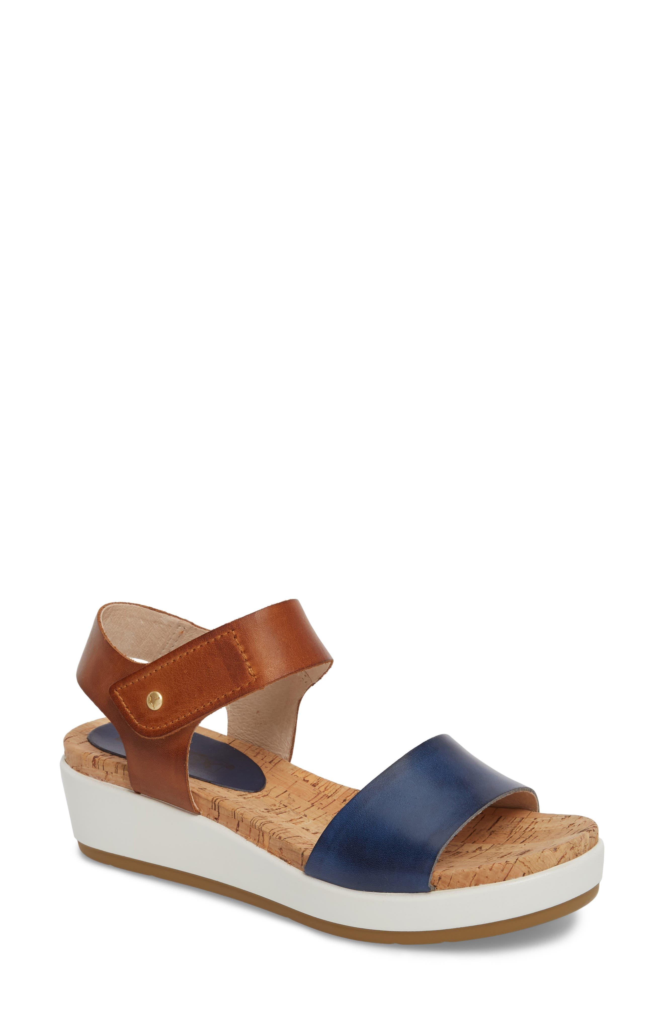 Mykonos Sport Sandal,                             Main thumbnail 1, color,                             Royal Blue Leather