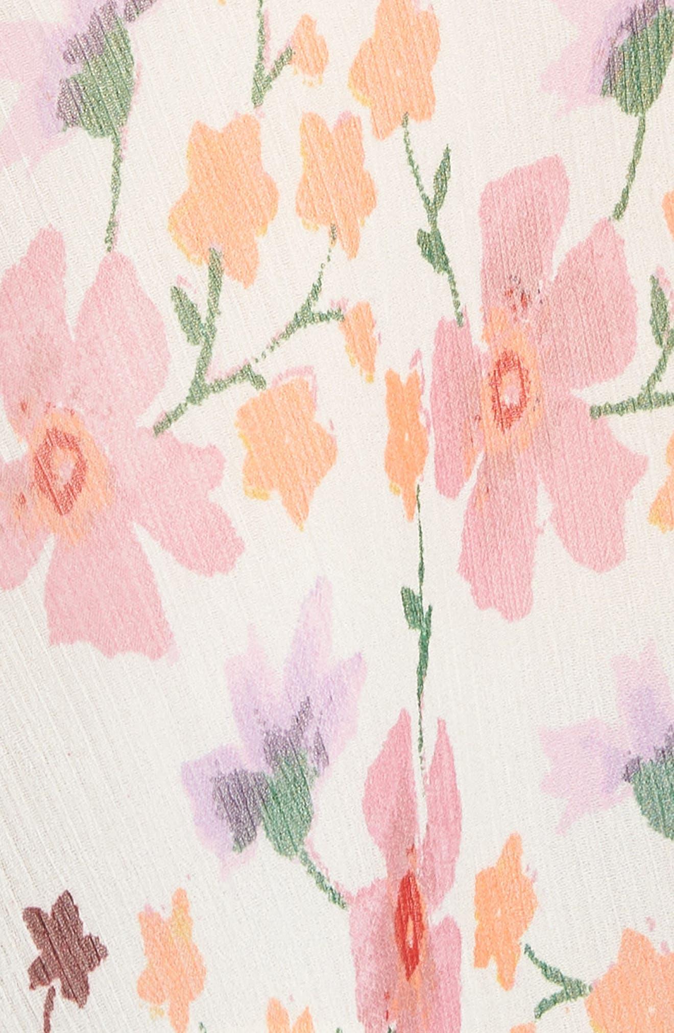 Lucky Cascade Ruffle Floral Tank Top,                             Alternate thumbnail 6, color,                             Multi