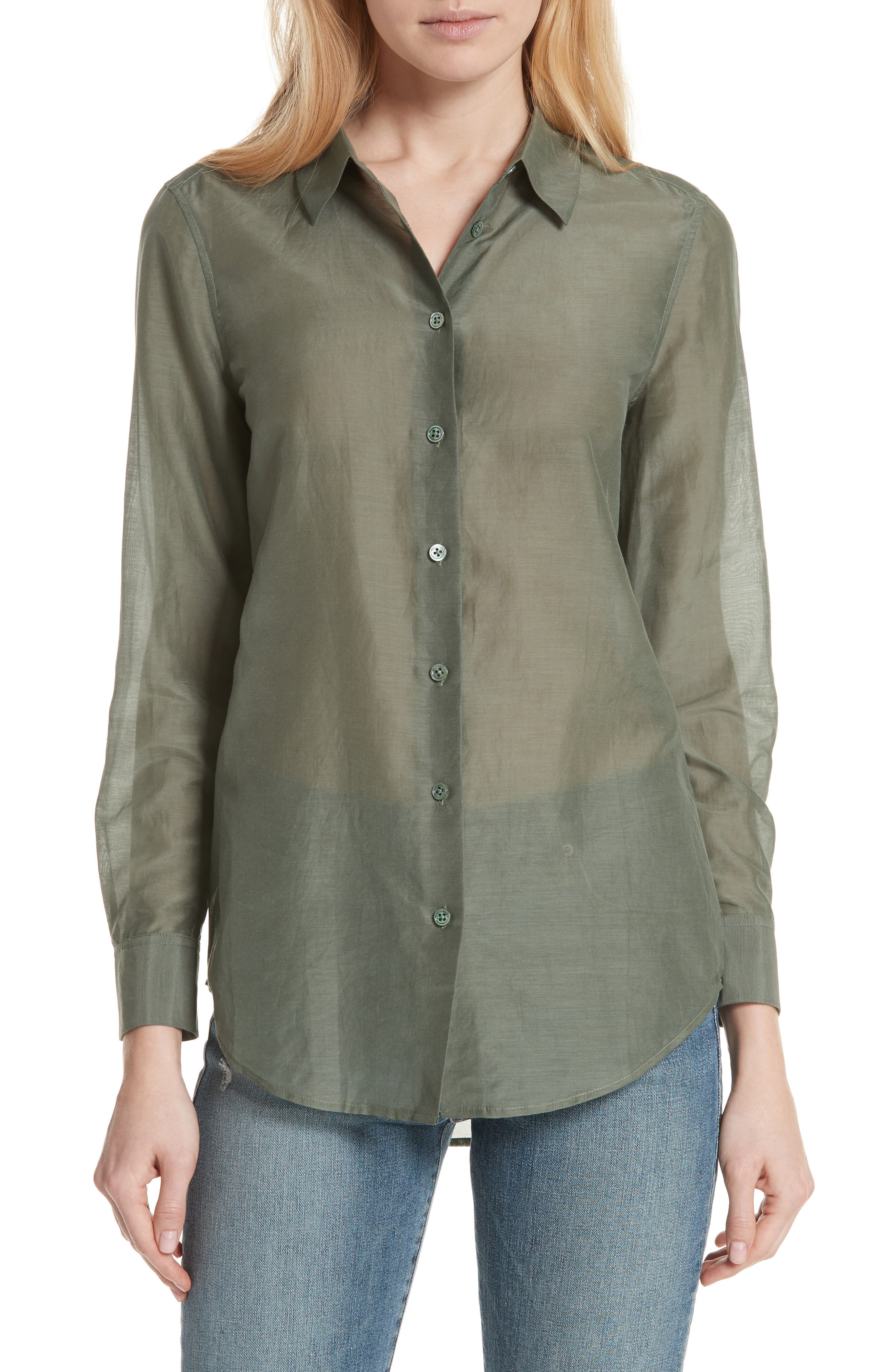 Essential Cotton & Silk Shirt,                         Main,                         color, Camouflage