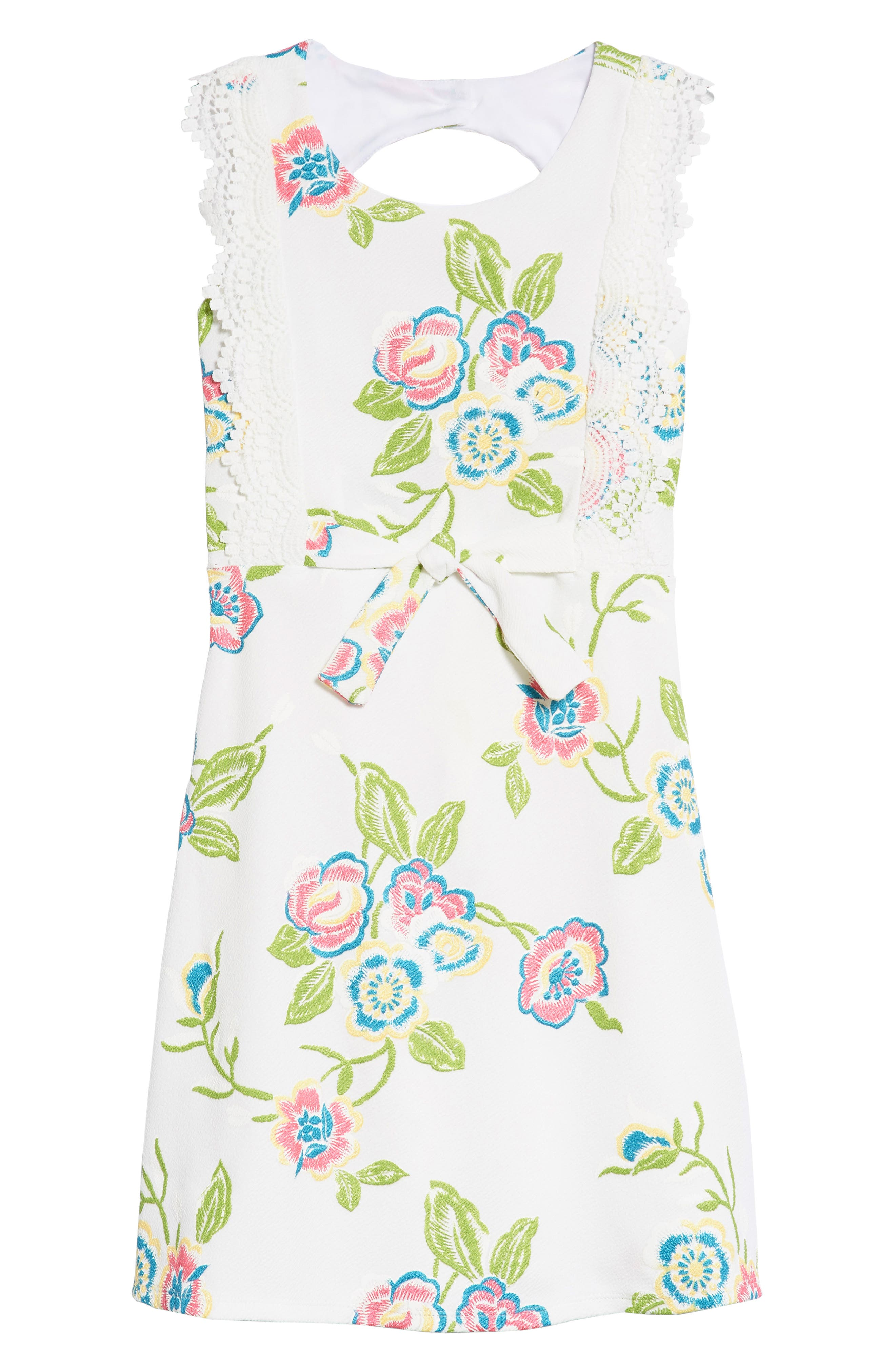 Embroidered Open Back Dress,                             Main thumbnail 1, color,                             Ivory
