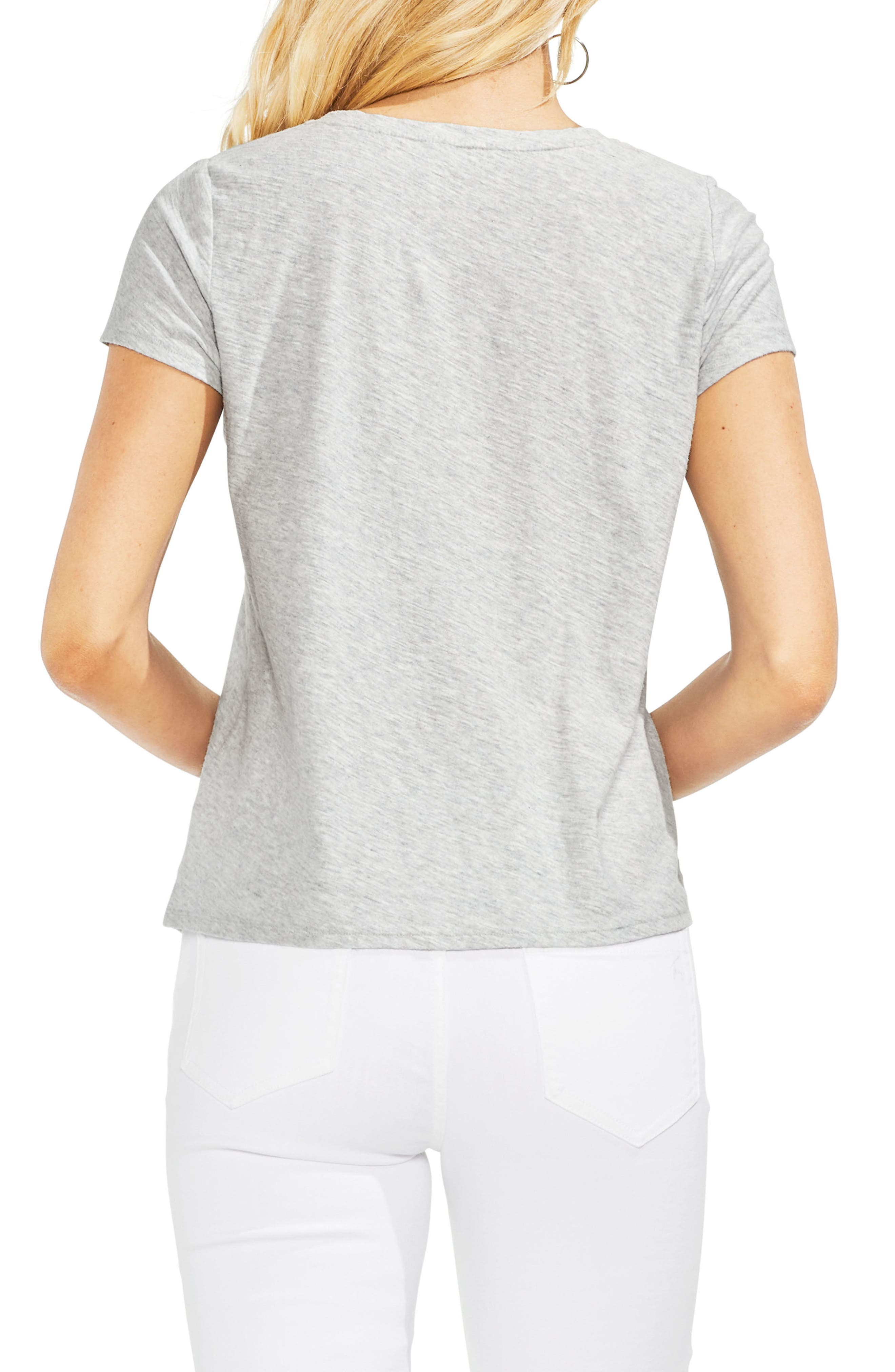 Embroidered Stripe Panel Cotton Tee,                             Alternate thumbnail 2, color,                             Grey Heather