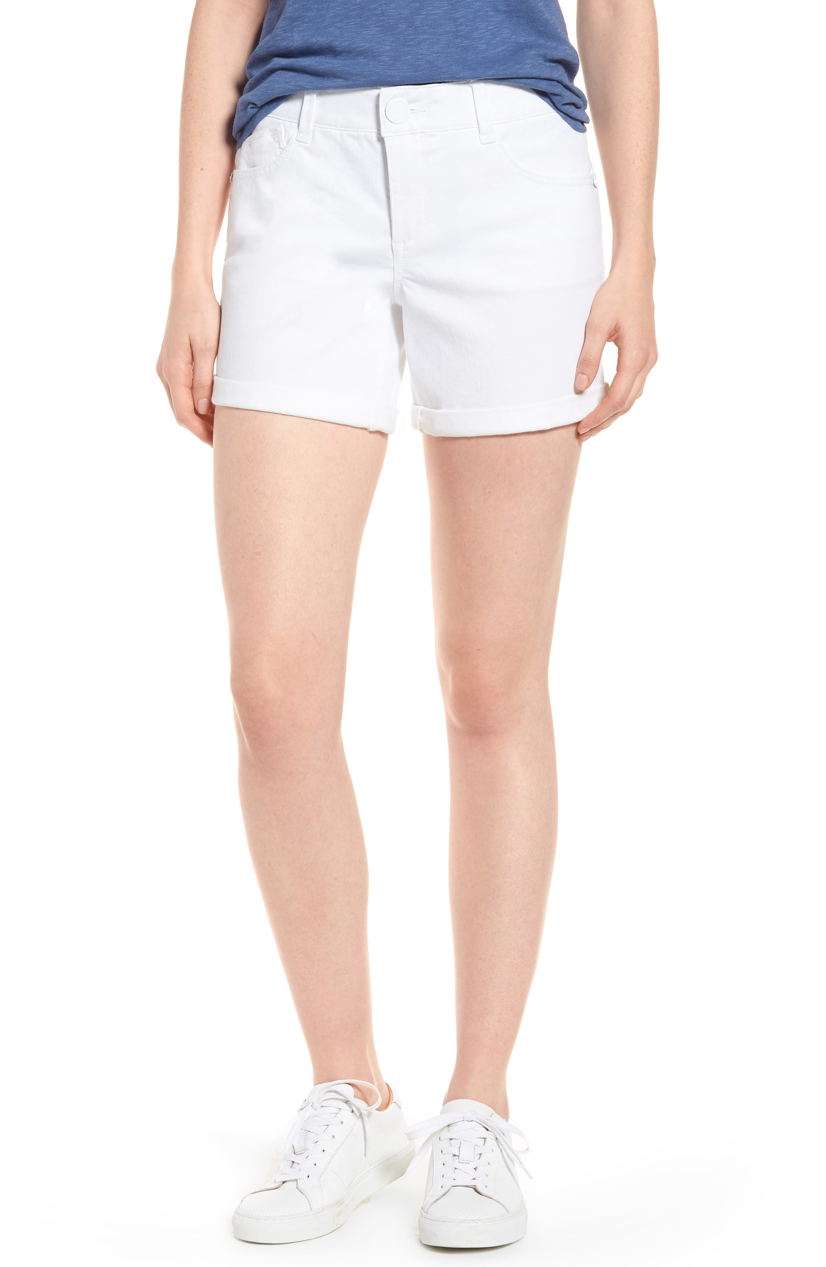 Ab-solution Cuffed White Shorts,                         Main,                         color, Optic White