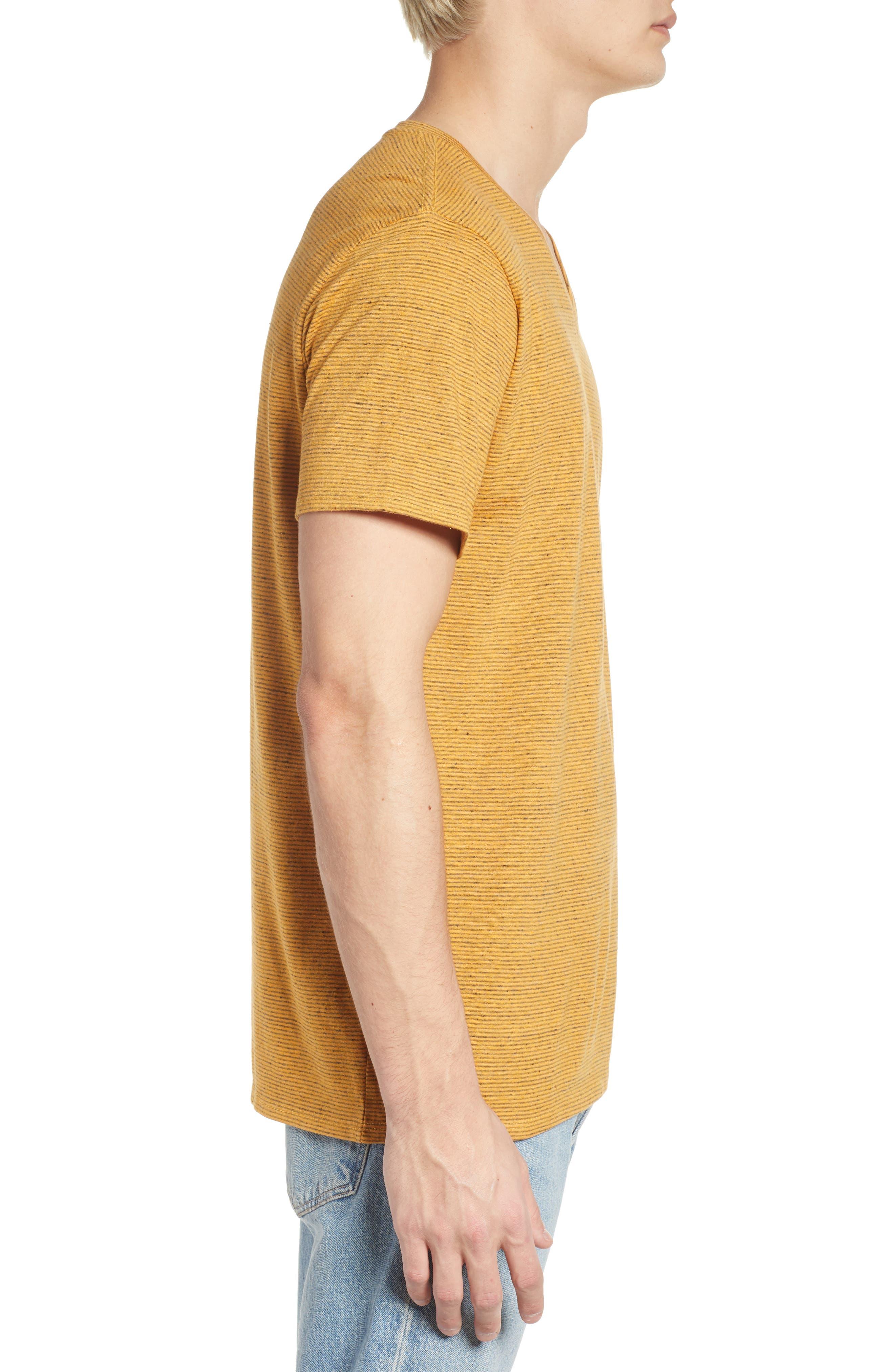 Fine Stripe V-Neck T-Shirt,                             Alternate thumbnail 3, color,                             Orange Lantana Heather Stripe