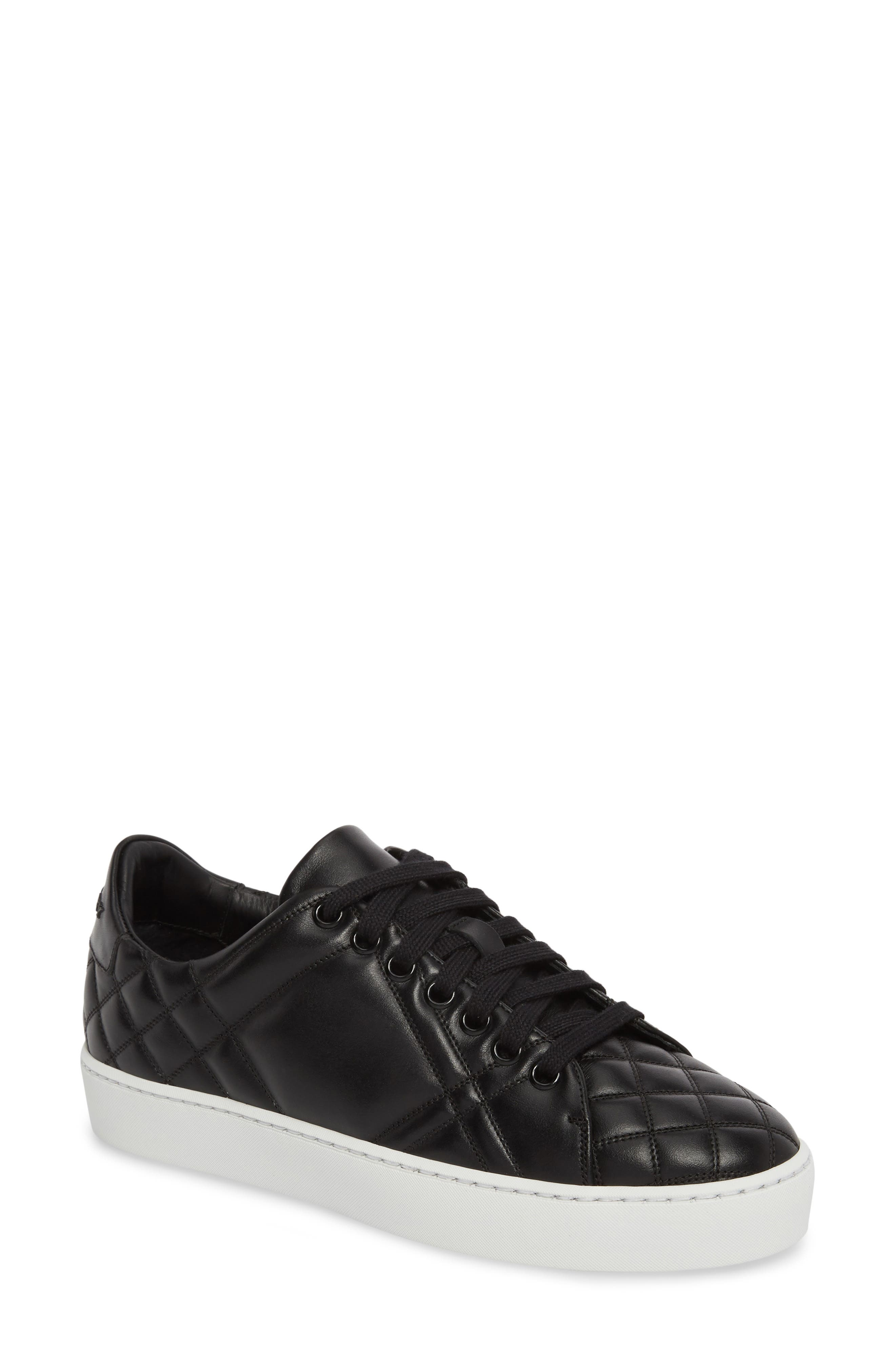 Check Quilted Leather Sneaker,                             Main thumbnail 1, color,                             Black Leather