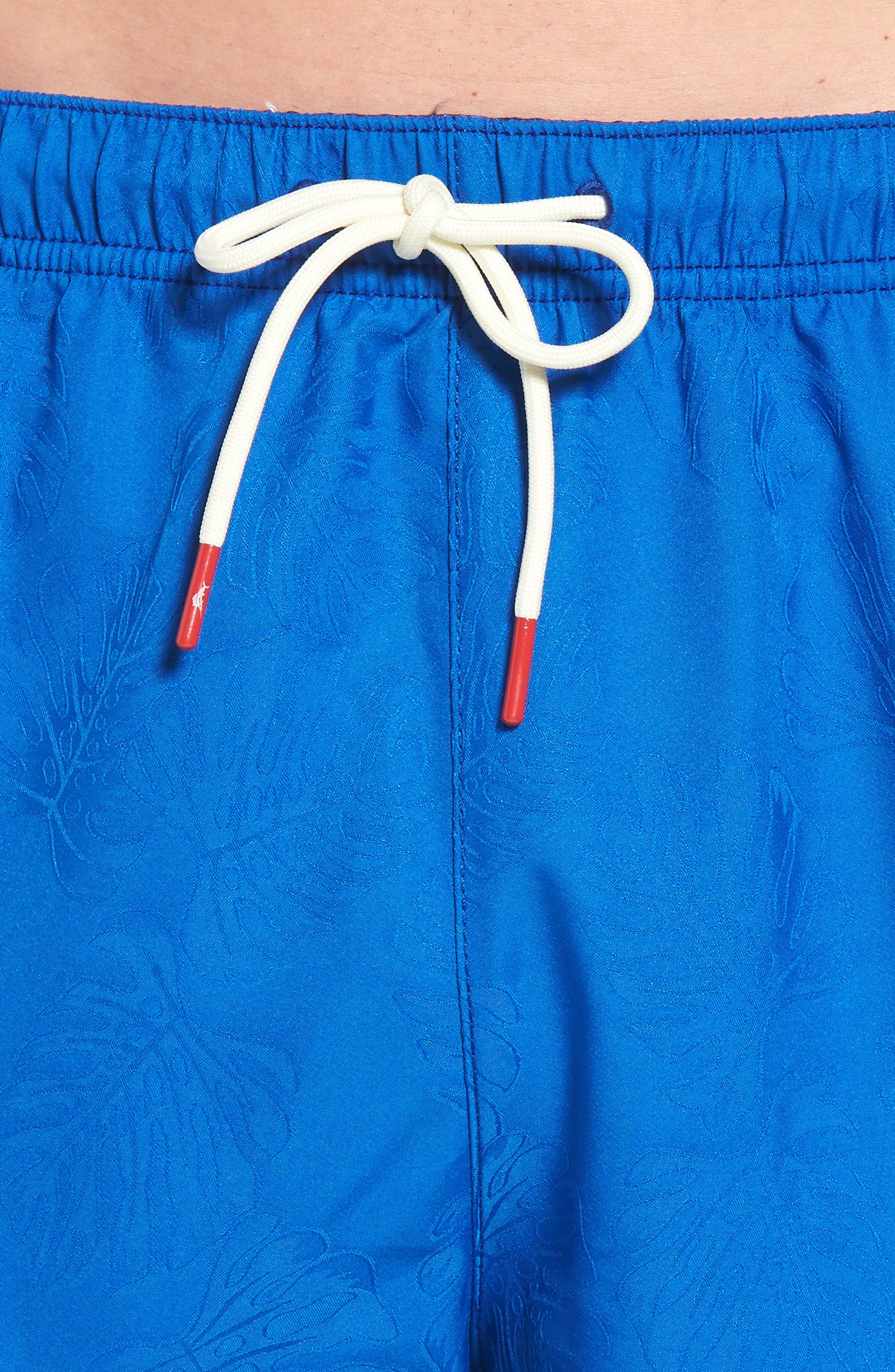 Naples Midnight Monstera Swim Trunks,                             Alternate thumbnail 4, color,                             Cobalt Sea