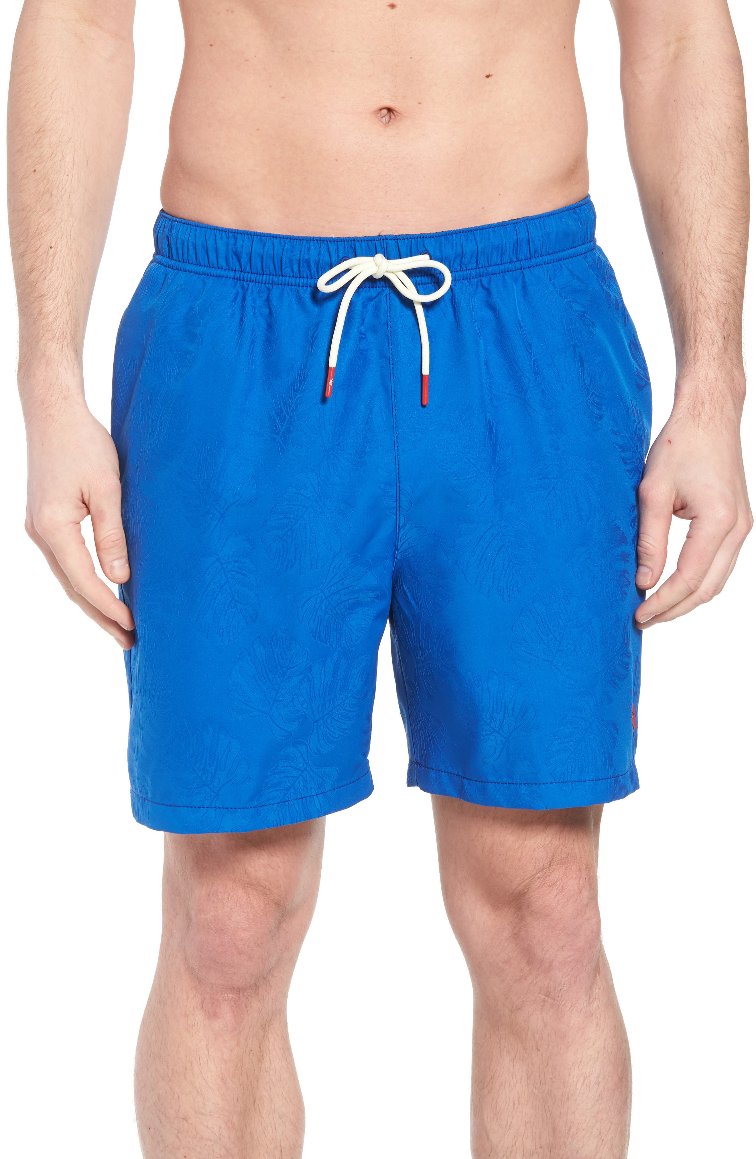 Naples Midnight Monstera Swim Trunks,                             Main thumbnail 1, color,                             Cobalt Sea