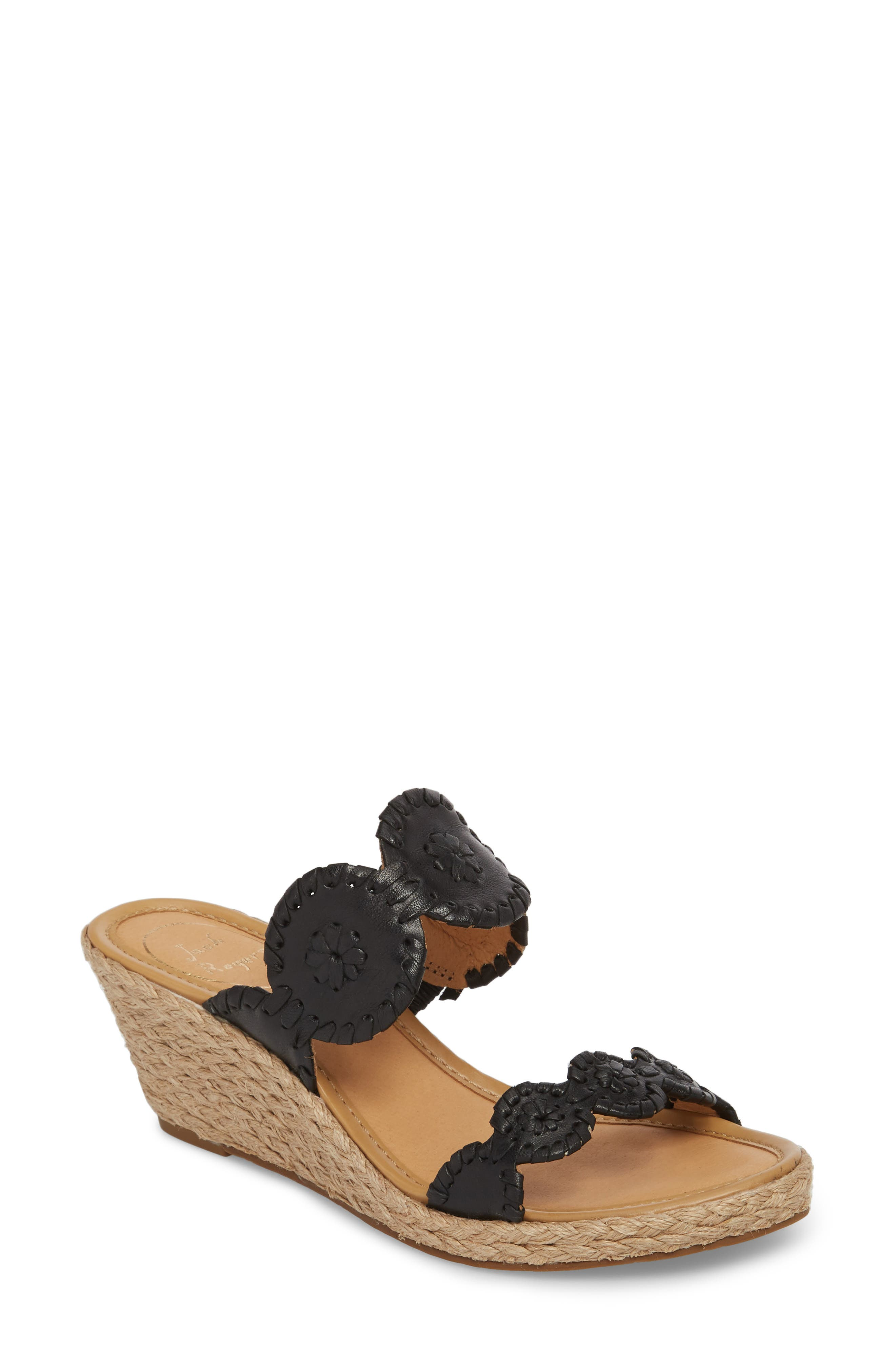 'Shelby' Whipstitched Wedge Sandal,                         Main,                         color, Black Leather