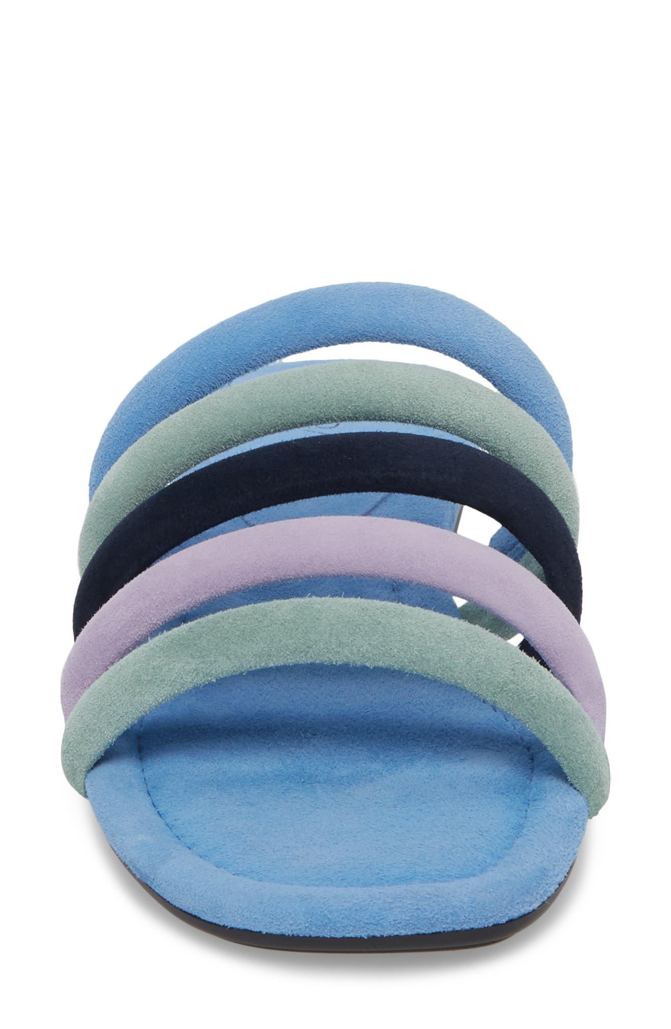Kip Slide Sandal,                             Alternate thumbnail 4, color,                             Sage/ Blue Leather