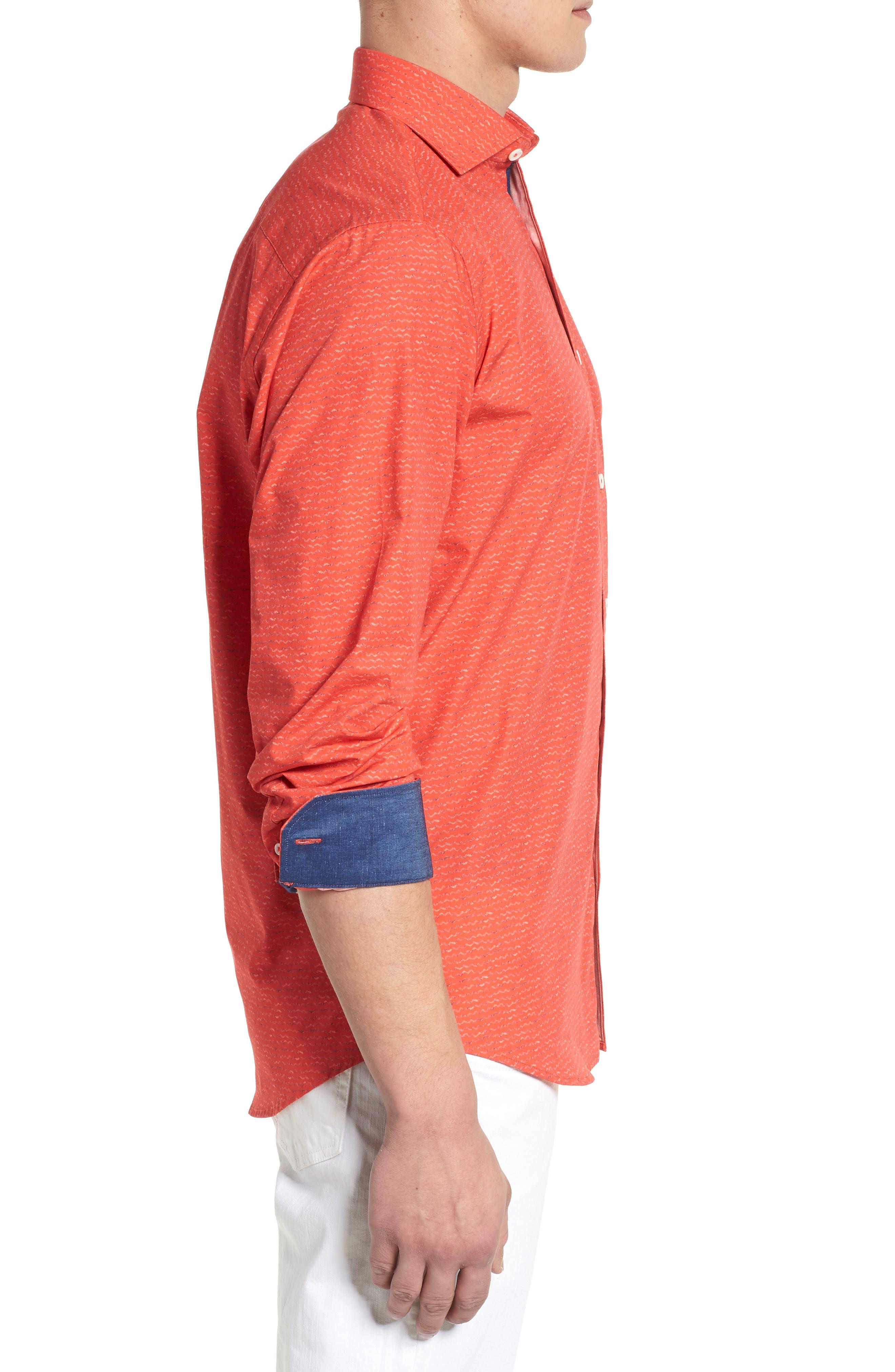 Classic Fit Woven Sport Shirt,                             Alternate thumbnail 3, color,                             Cherry