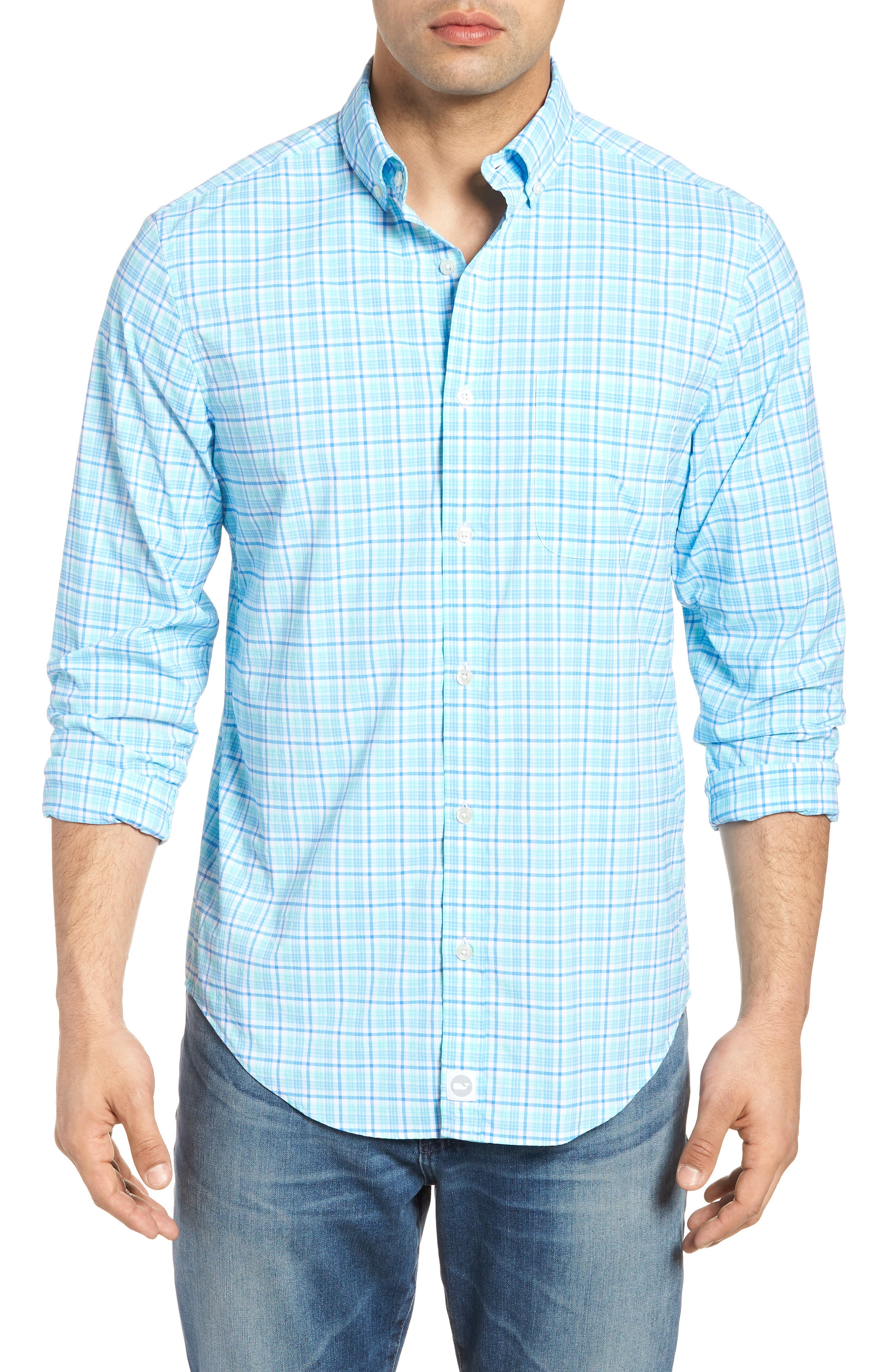 Tipsy Bar Classic Fit Stretch Plaid Sport Shirt,                             Main thumbnail 1, color,                             Turquoise
