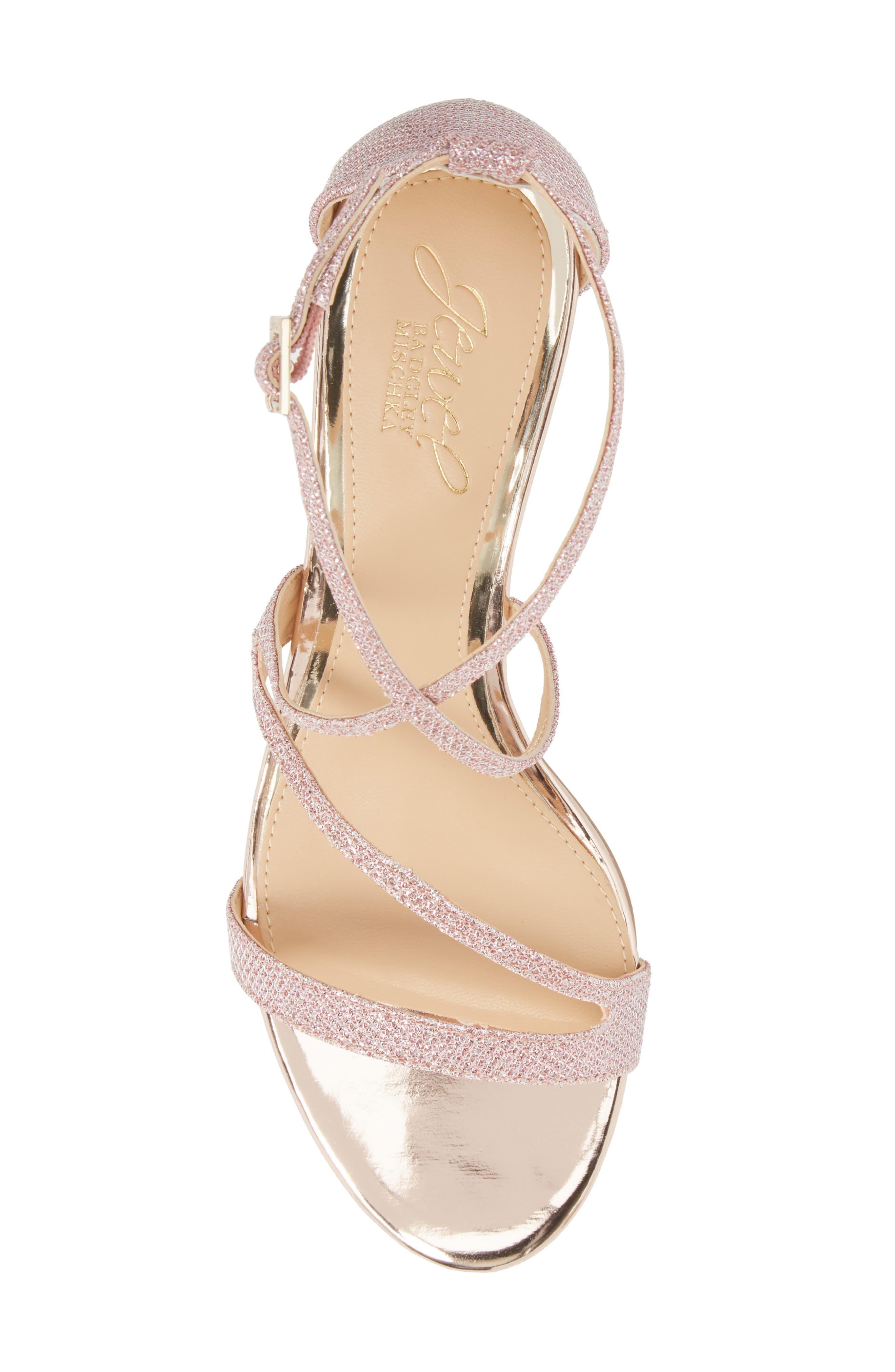 Gal Glitter Kitten Heel Sandal,                             Alternate thumbnail 5, color,                             Rose Gold Glitter Fabric