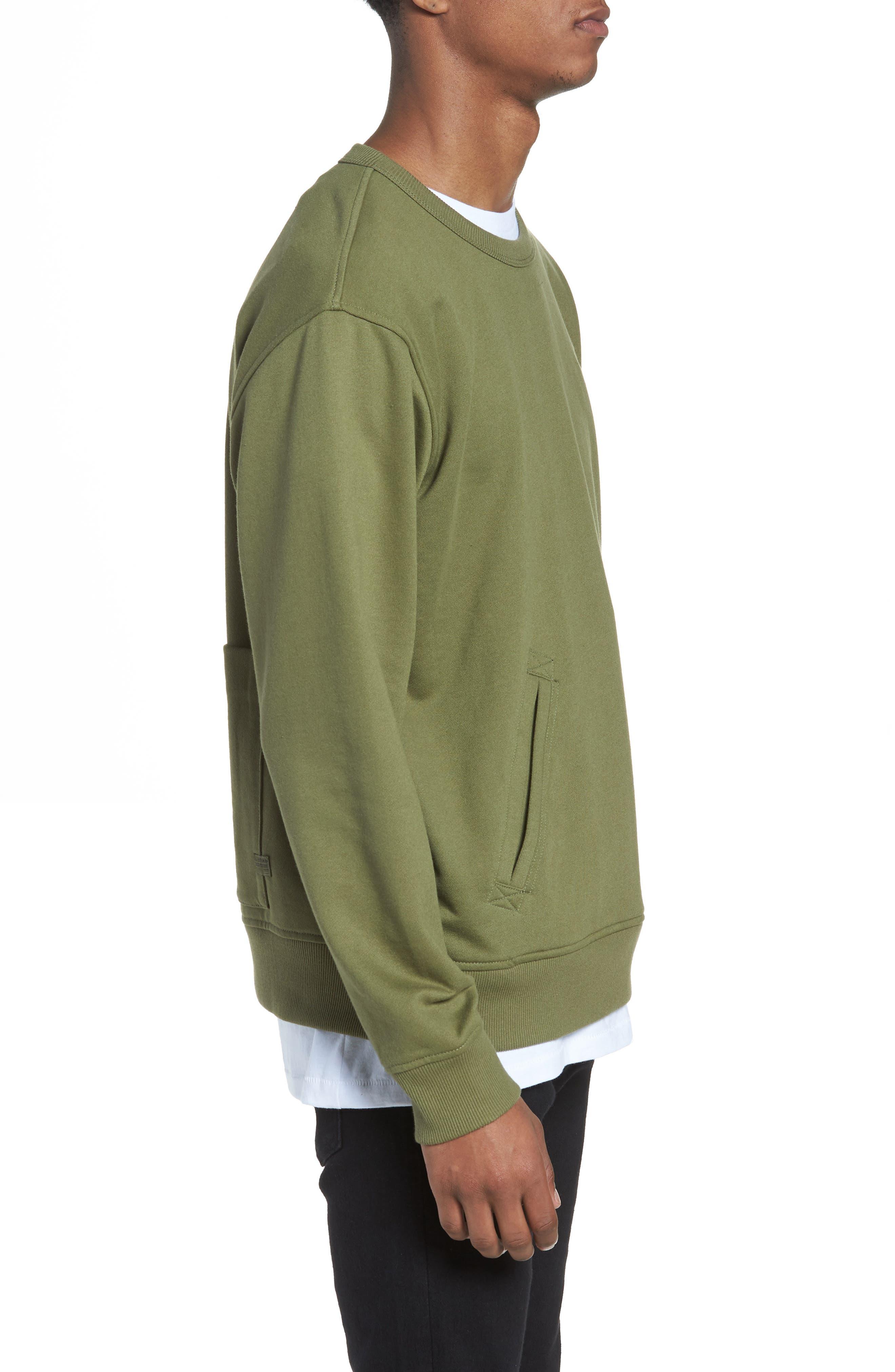 Core Hybrid Archive Sweatshirt,                             Alternate thumbnail 3, color,                             Sage