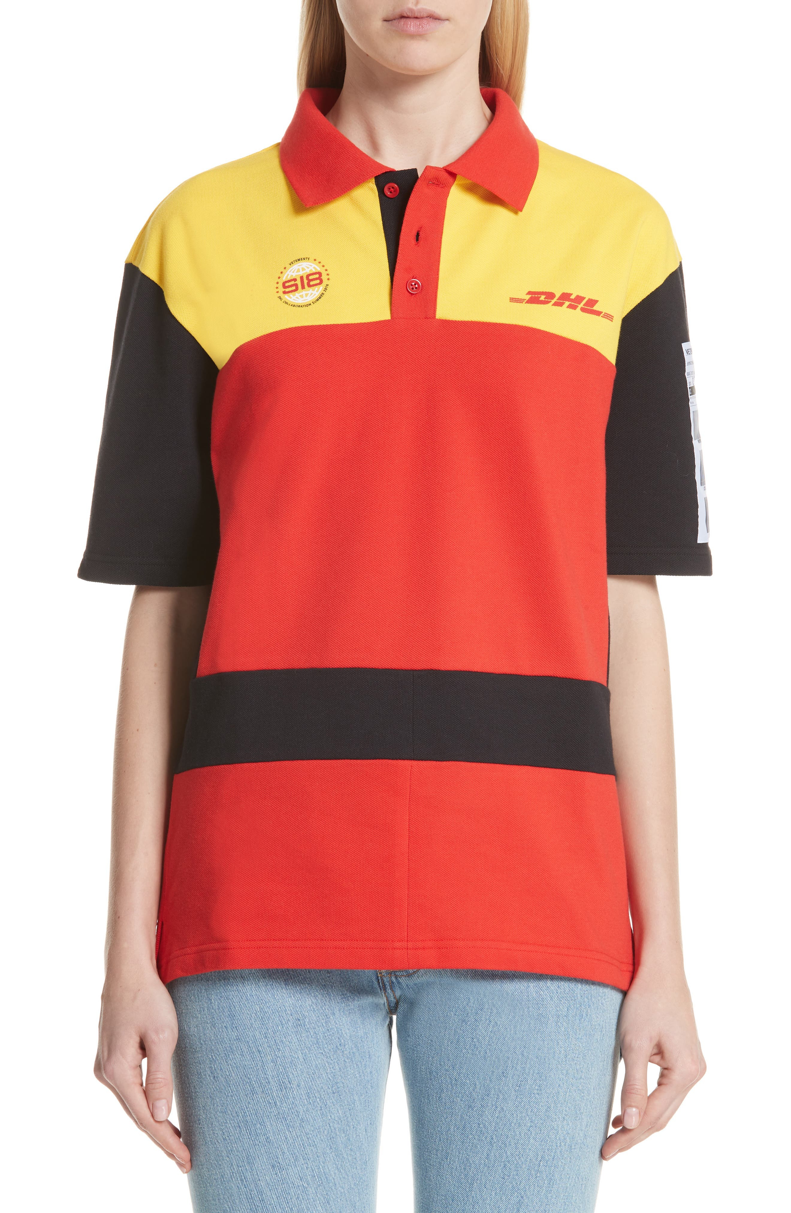 DHL Slim Fit Polo,                             Main thumbnail 1, color,                             Yellow