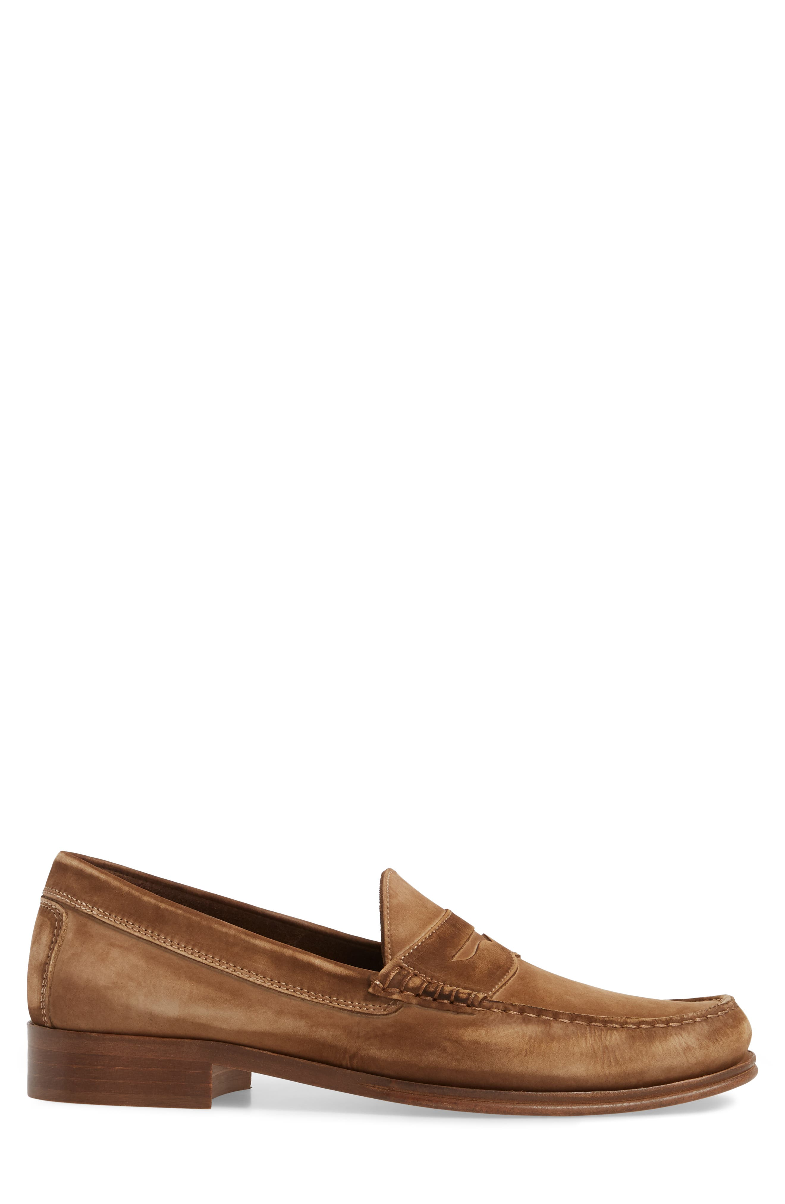 Nicola Penny Loafer,                             Alternate thumbnail 3, color,                             Chocolate Nubuck Leather