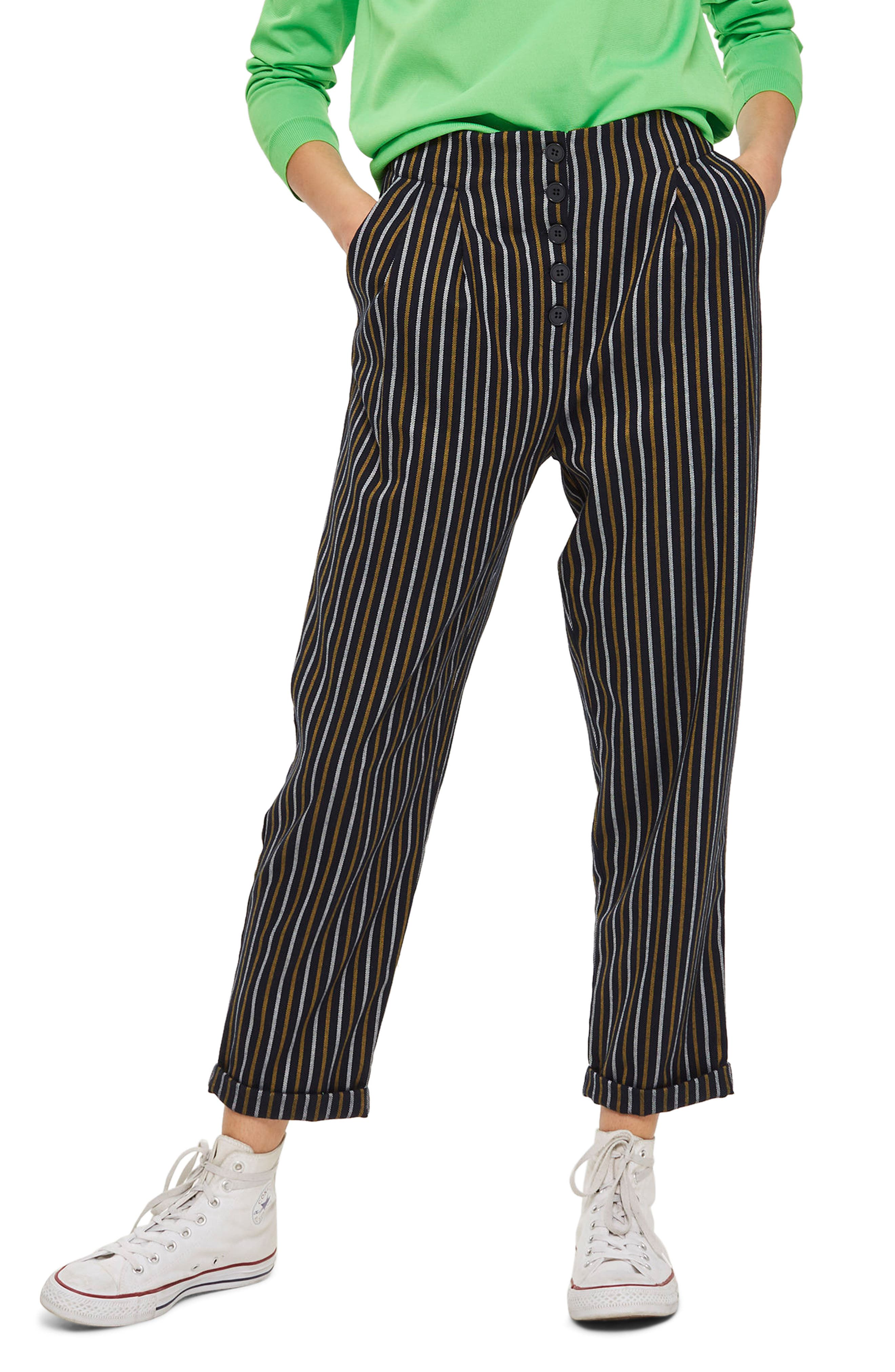 Topshop Button Front Stripe Tapered Trousers