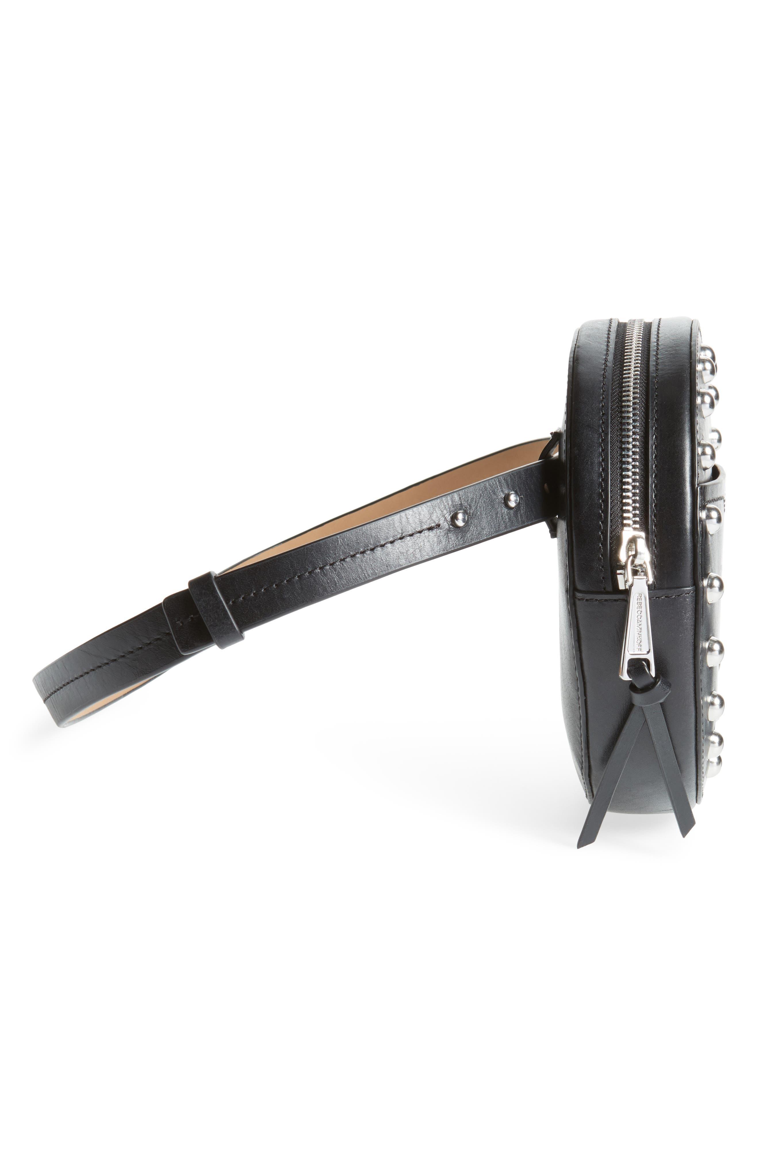 Studded Leather Belt Bag,                             Alternate thumbnail 6, color,                             Black