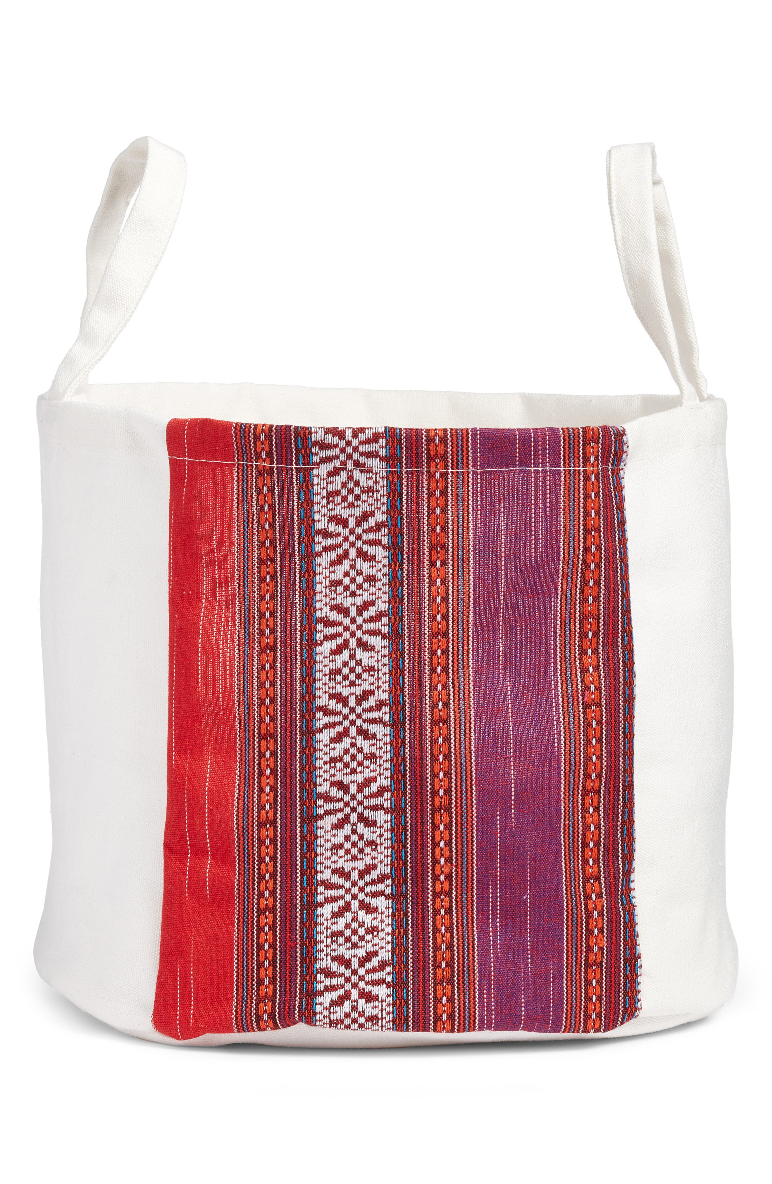 Levex Boho Canvas Basket,                             Main thumbnail 1, color,                             Multi