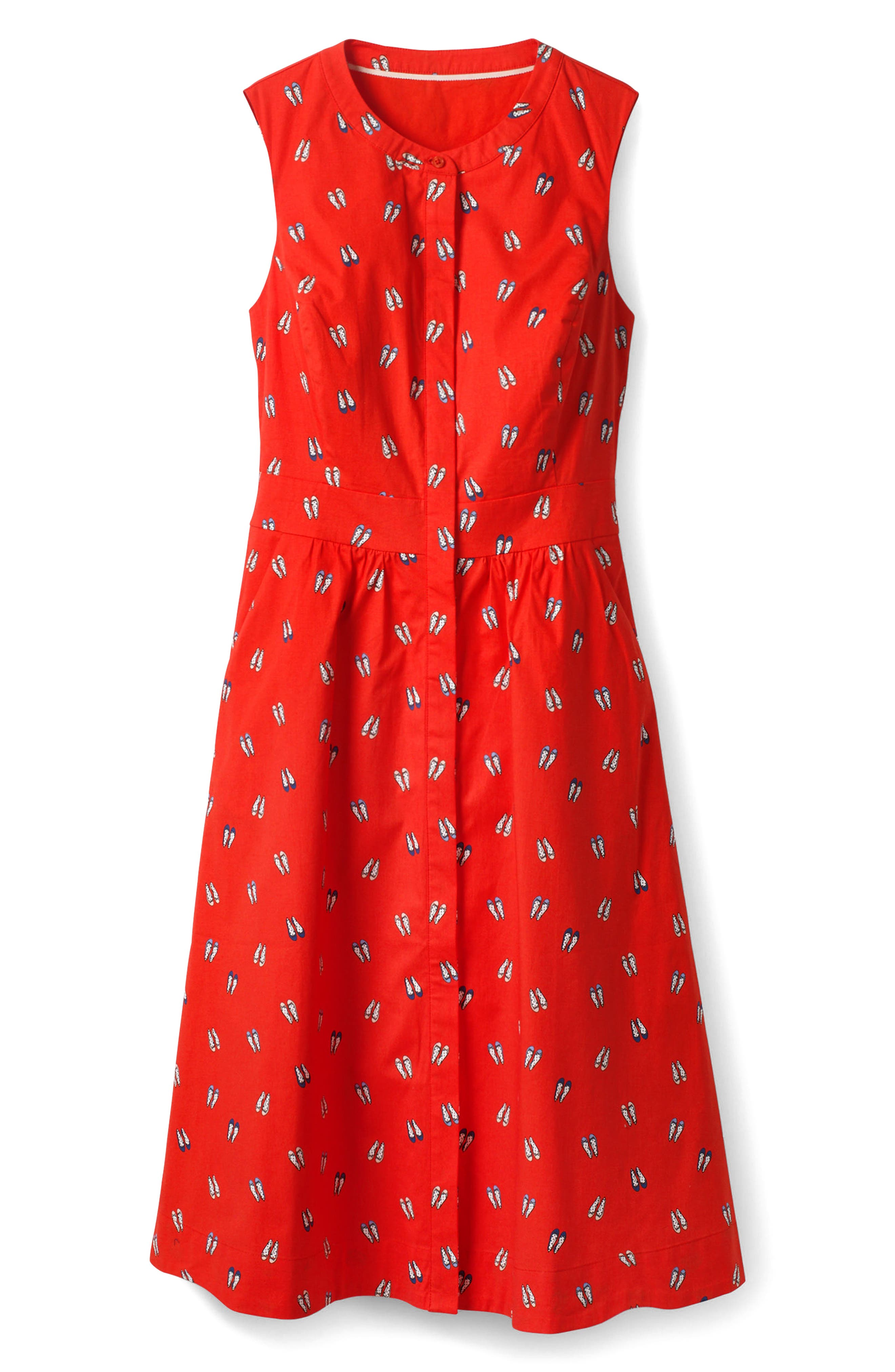 Collarless Stretch Cotton Printed Shirtdress,                             Alternate thumbnail 5, color,                             Rosehip Ballet Slippers