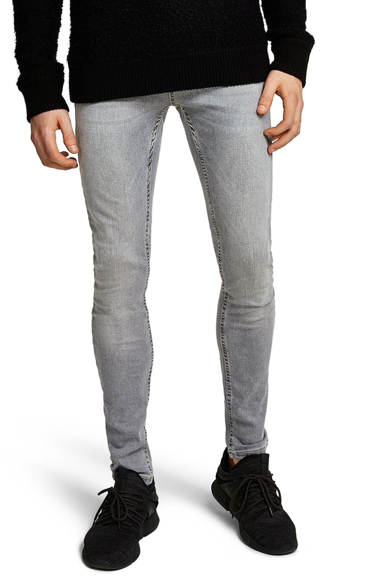 Spray-On Skinny Fit Jeans,                             Main thumbnail 1, color,                             Grey