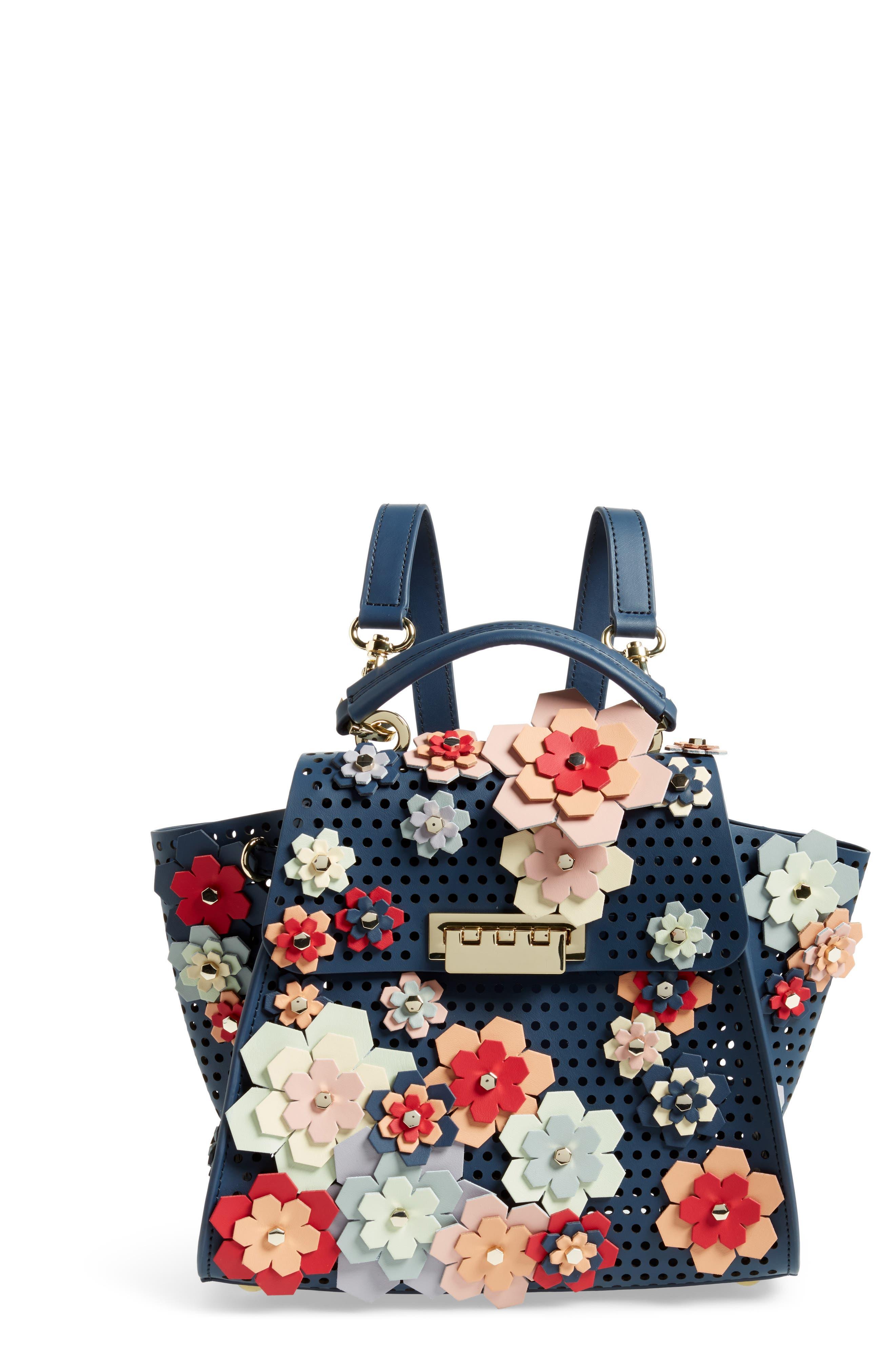 Eartha Kit Convertible Calfskin Leather Backpack,                             Main thumbnail 1, color,                             Blue/ Rainbow