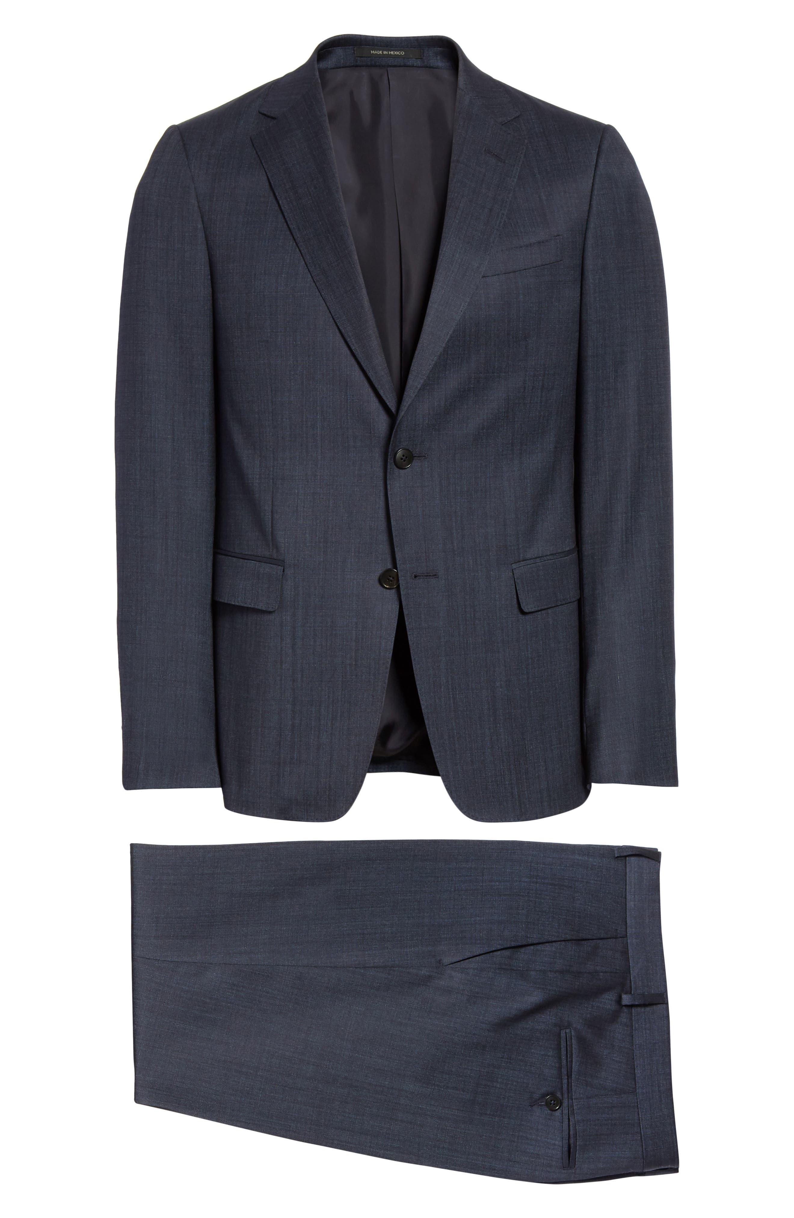 Trim Fit Solid Wool & Silk Suit,                             Alternate thumbnail 8, color,                             Navy