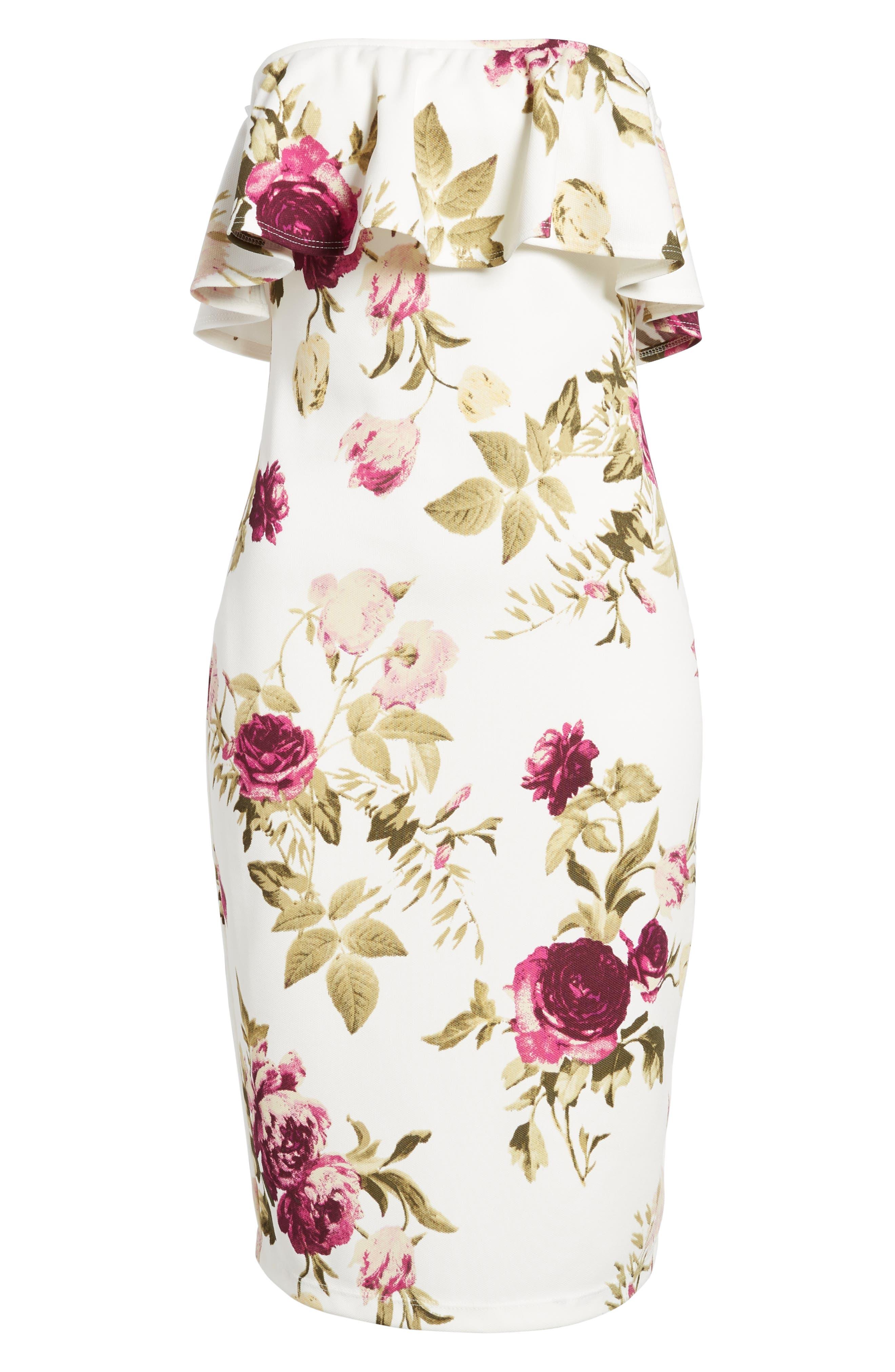 Strapless Flounce Dress,                             Alternate thumbnail 7, color,                             Ivory/ Fuchsia