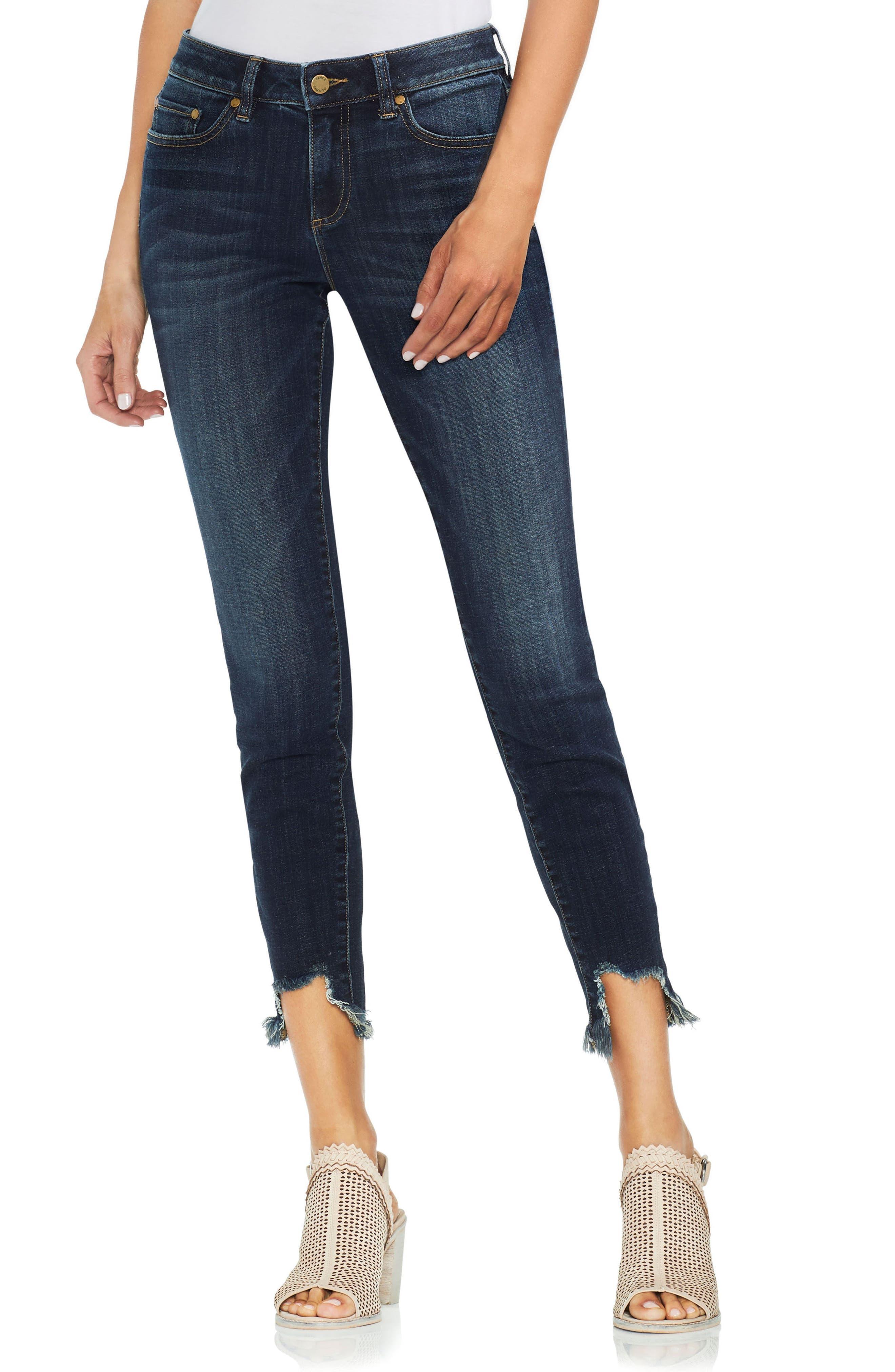 Uneven Hem Skinny Jeans,                             Main thumbnail 1, color,                             Dk Authentic