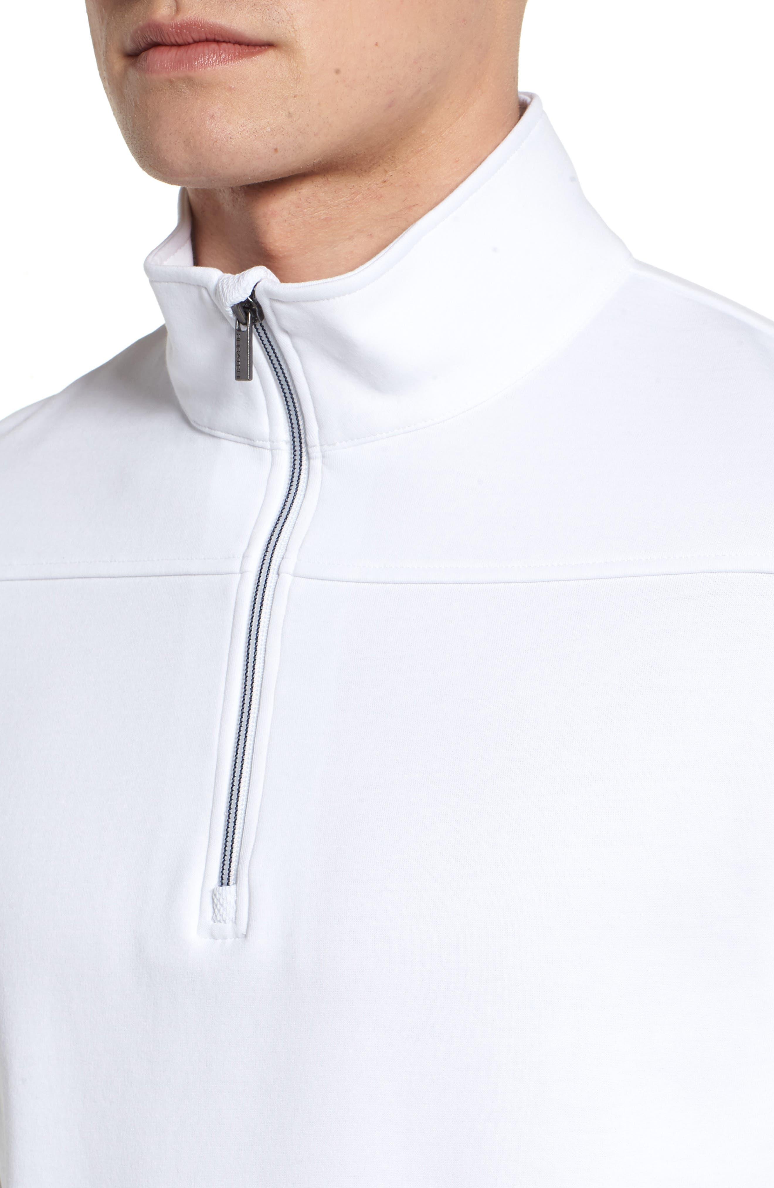 Regular Fit Knit Quarter Zip Pullover,                             Alternate thumbnail 4, color,                             White