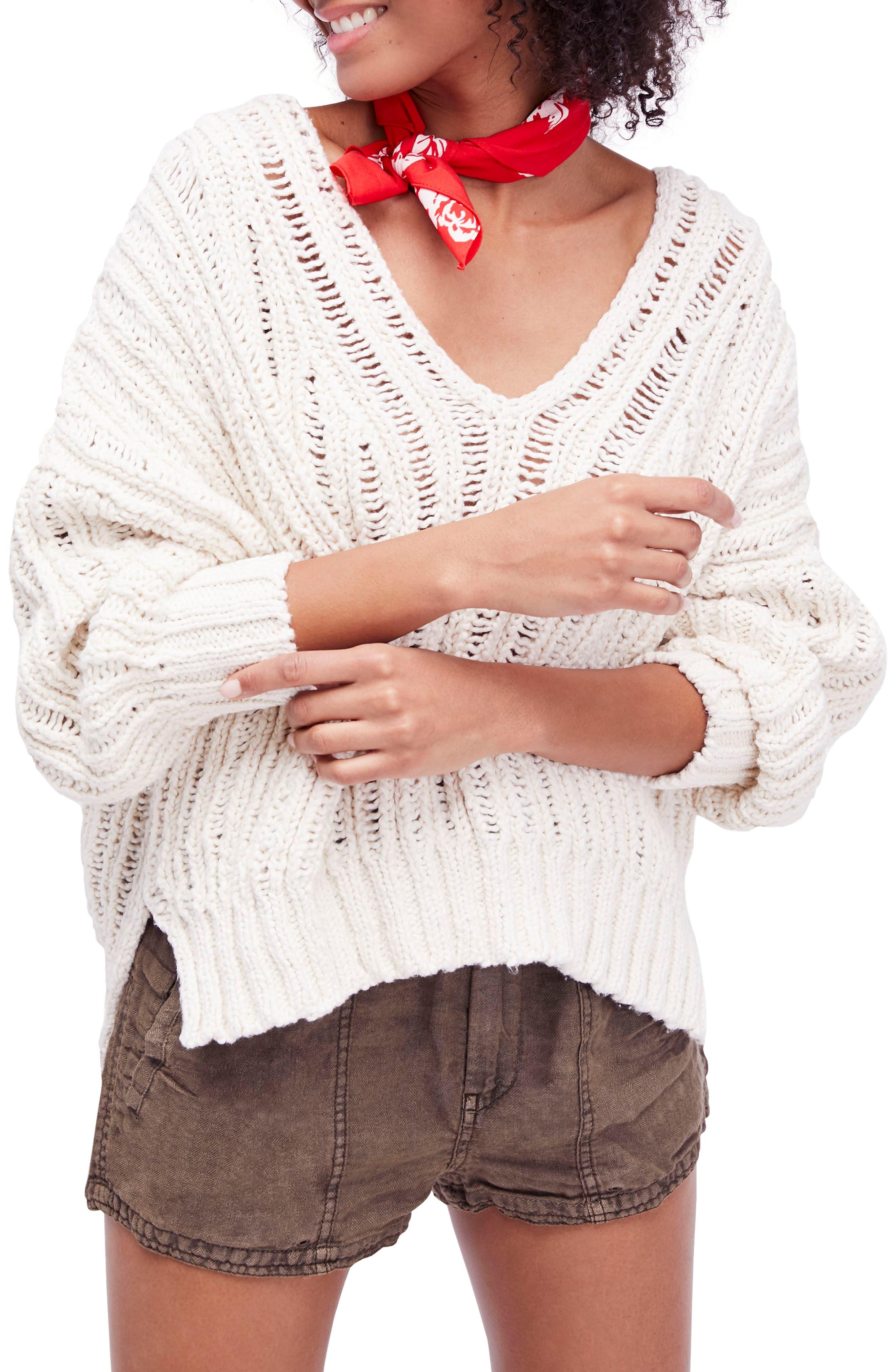 Infinite V-Neck Sweater,                             Main thumbnail 1, color,                             Ivory