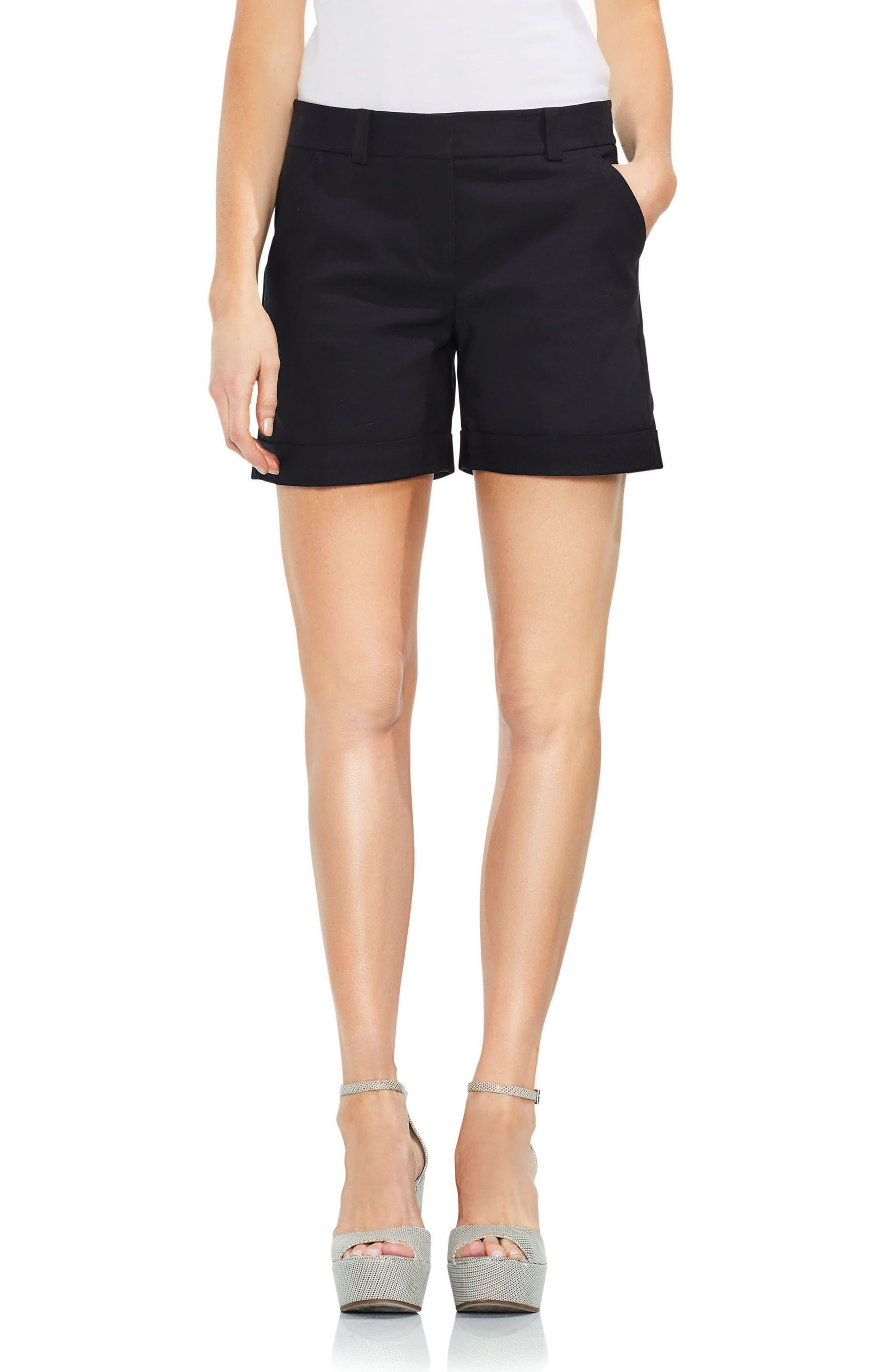 Cuffed Shorts,                             Main thumbnail 1, color,                             Rich Black