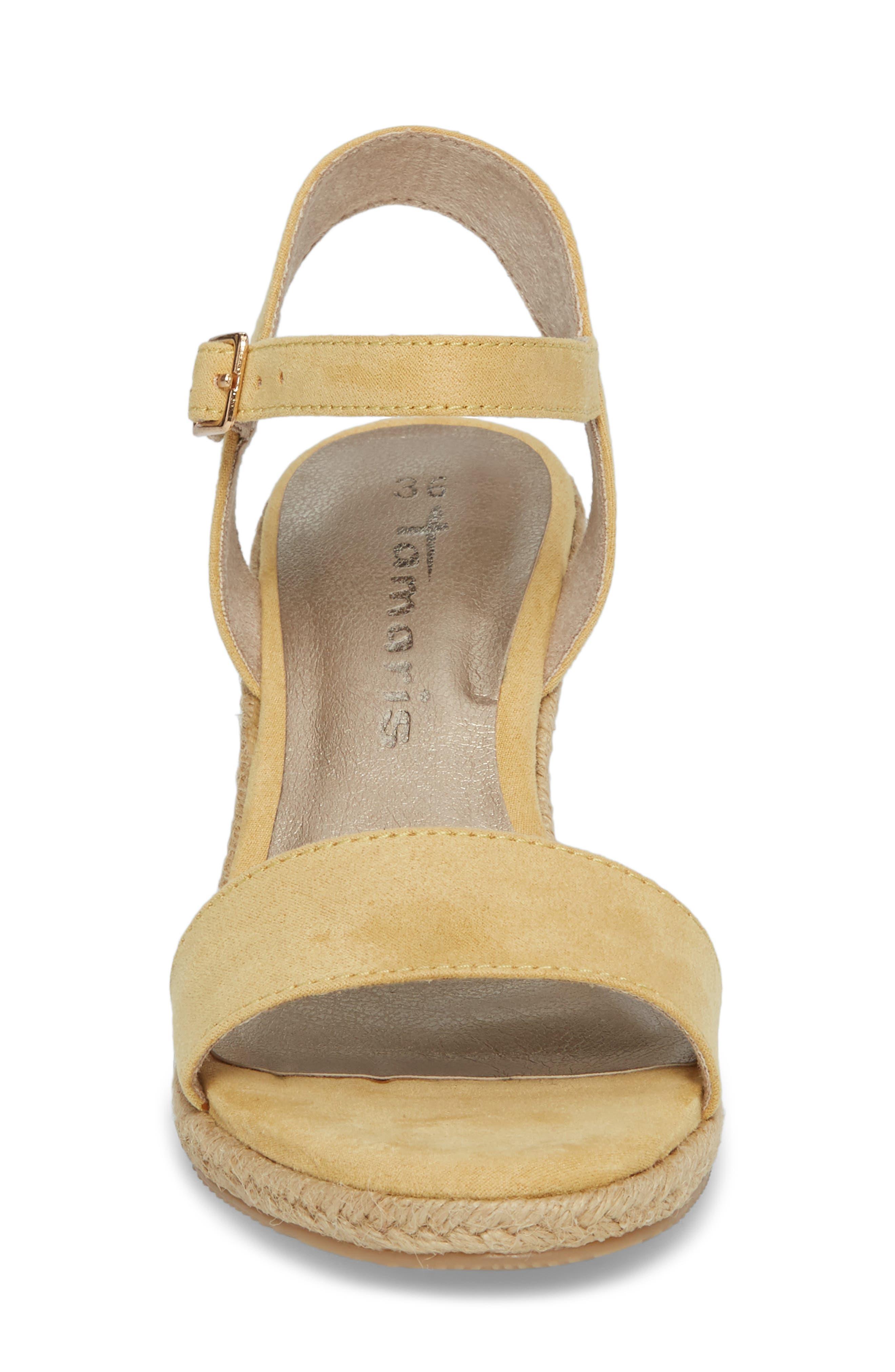 Livia Espadrille Wedge Sandal,                             Alternate thumbnail 4, color,                             Saffron Fabric