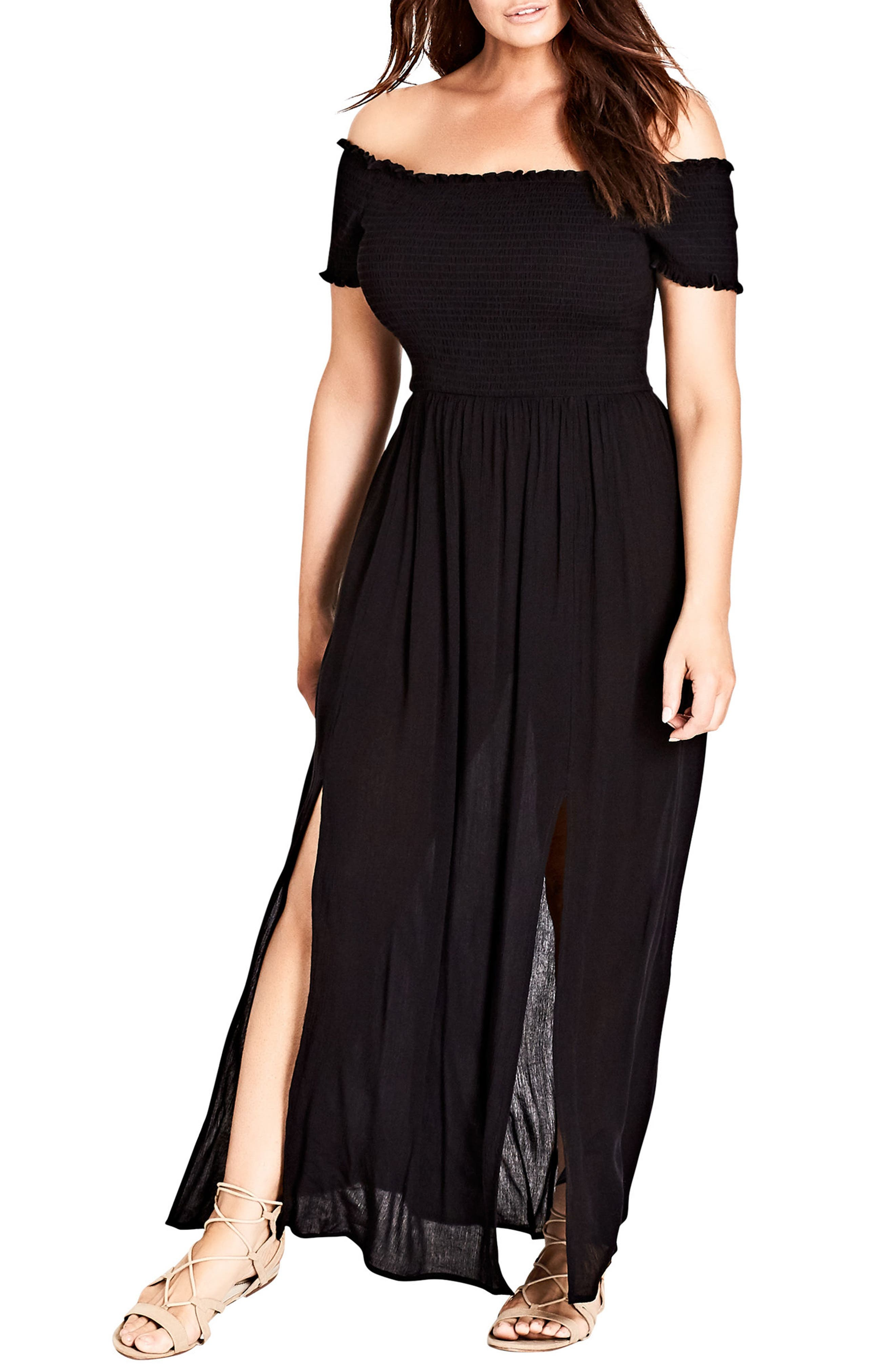 Smocked Off the Shoulder Maxi Dress,                         Main,                         color, Black