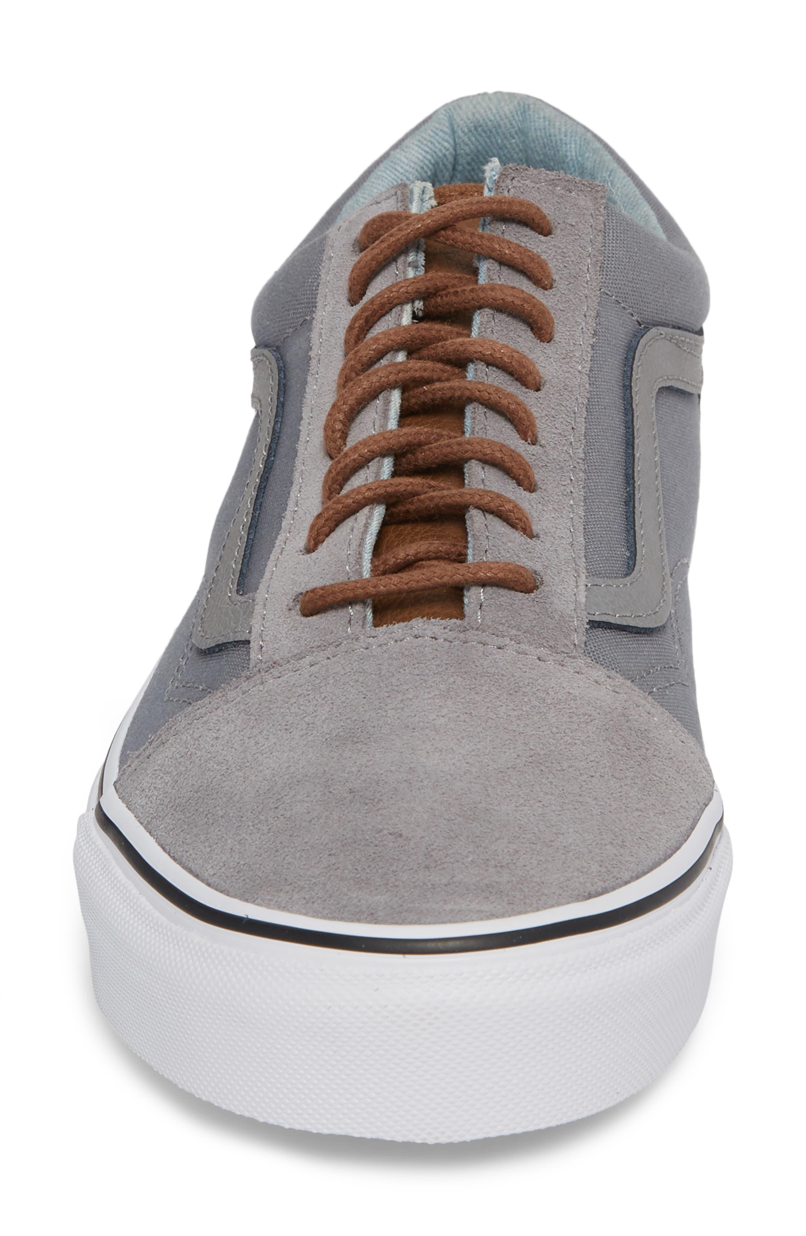 Old Skool Low Top Sneaker,                             Alternate thumbnail 4, color,                             Frost Grey/ Acid Denim Leather