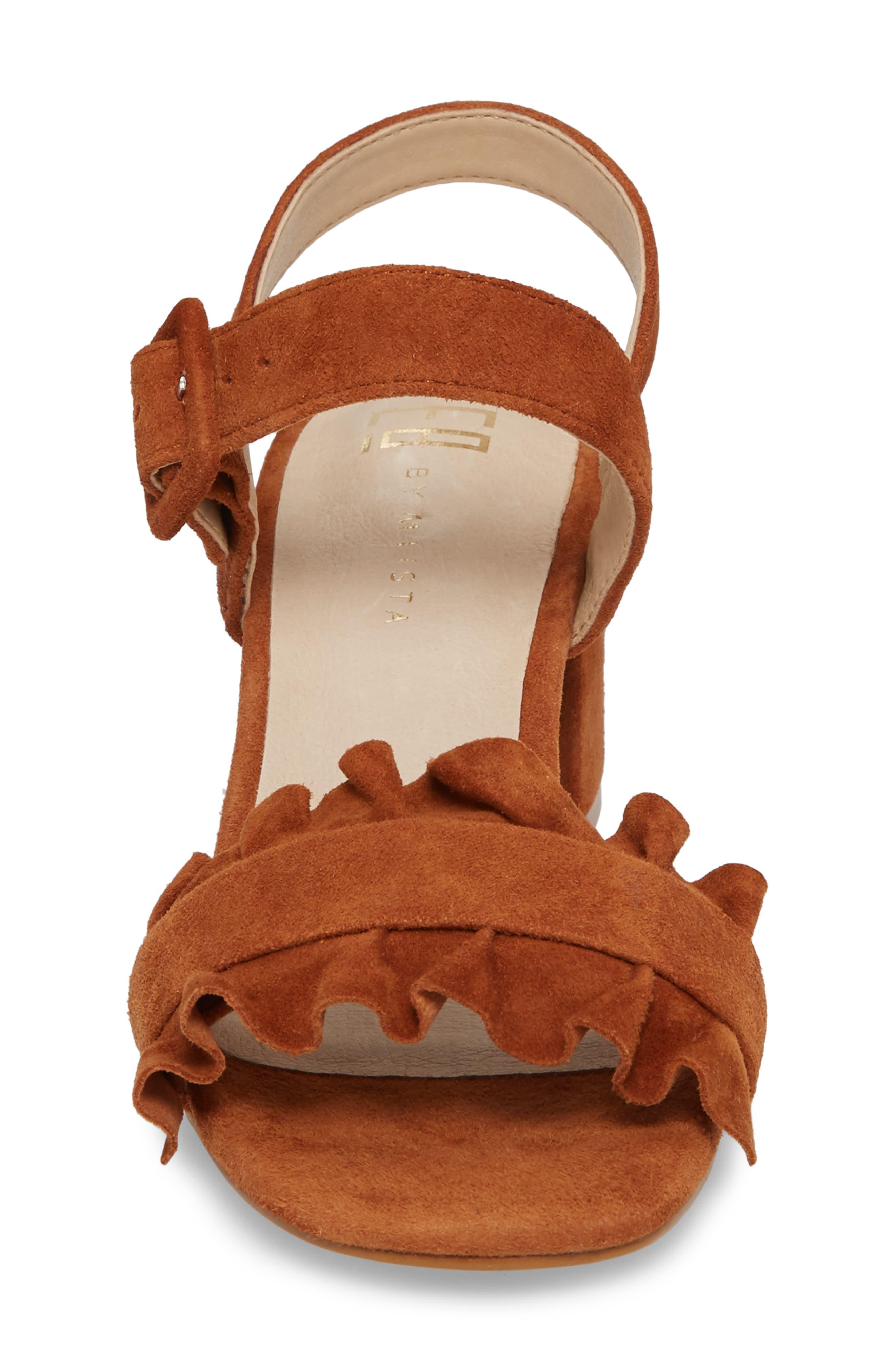 Sandie Block Heel Sandal,                             Alternate thumbnail 4, color,                             Tan Suede
