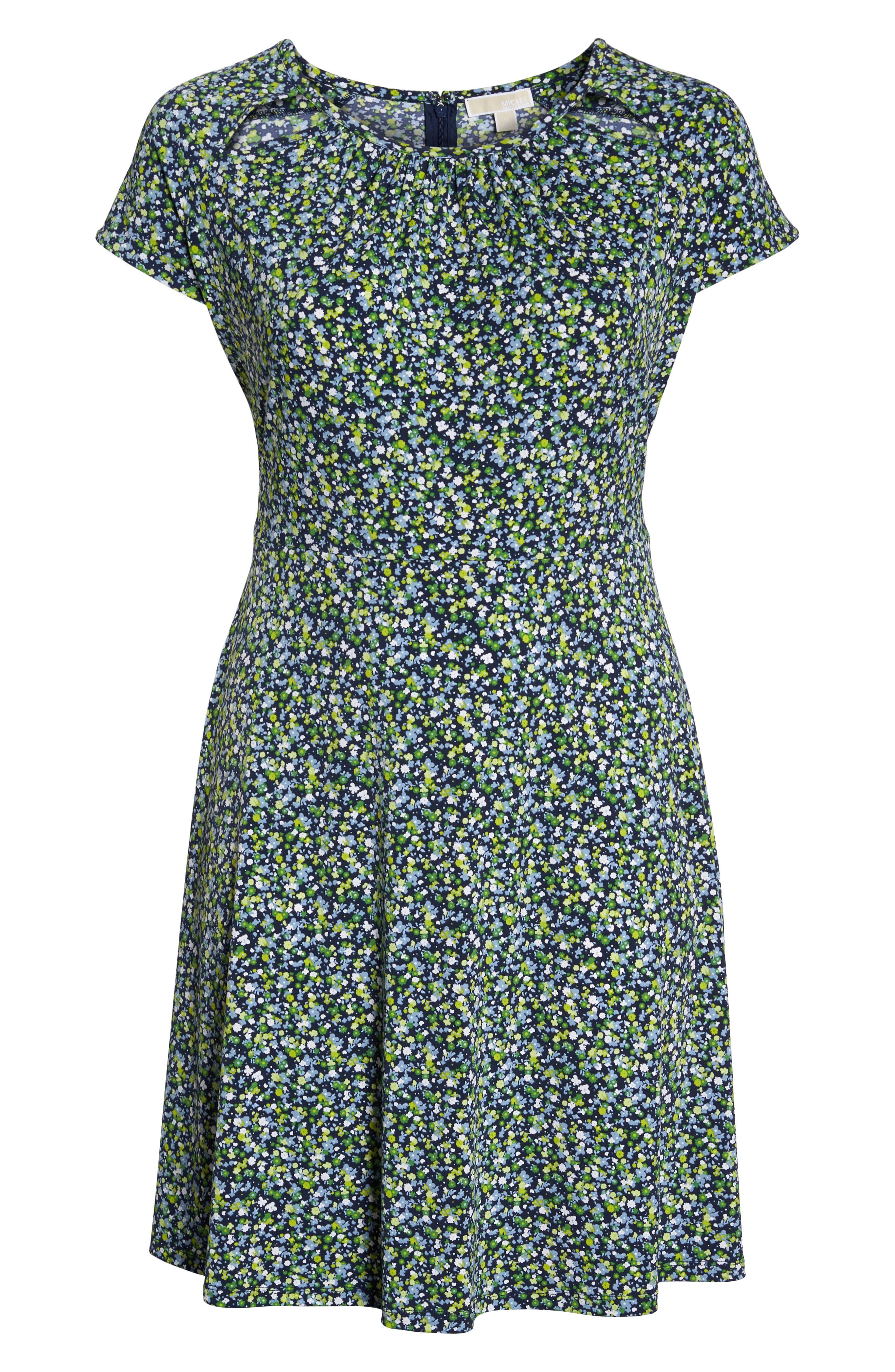 Floral Cutout Jersey Fit & Flare Dress,                             Alternate thumbnail 6, color,                             True Navy/ Green Apple Mu