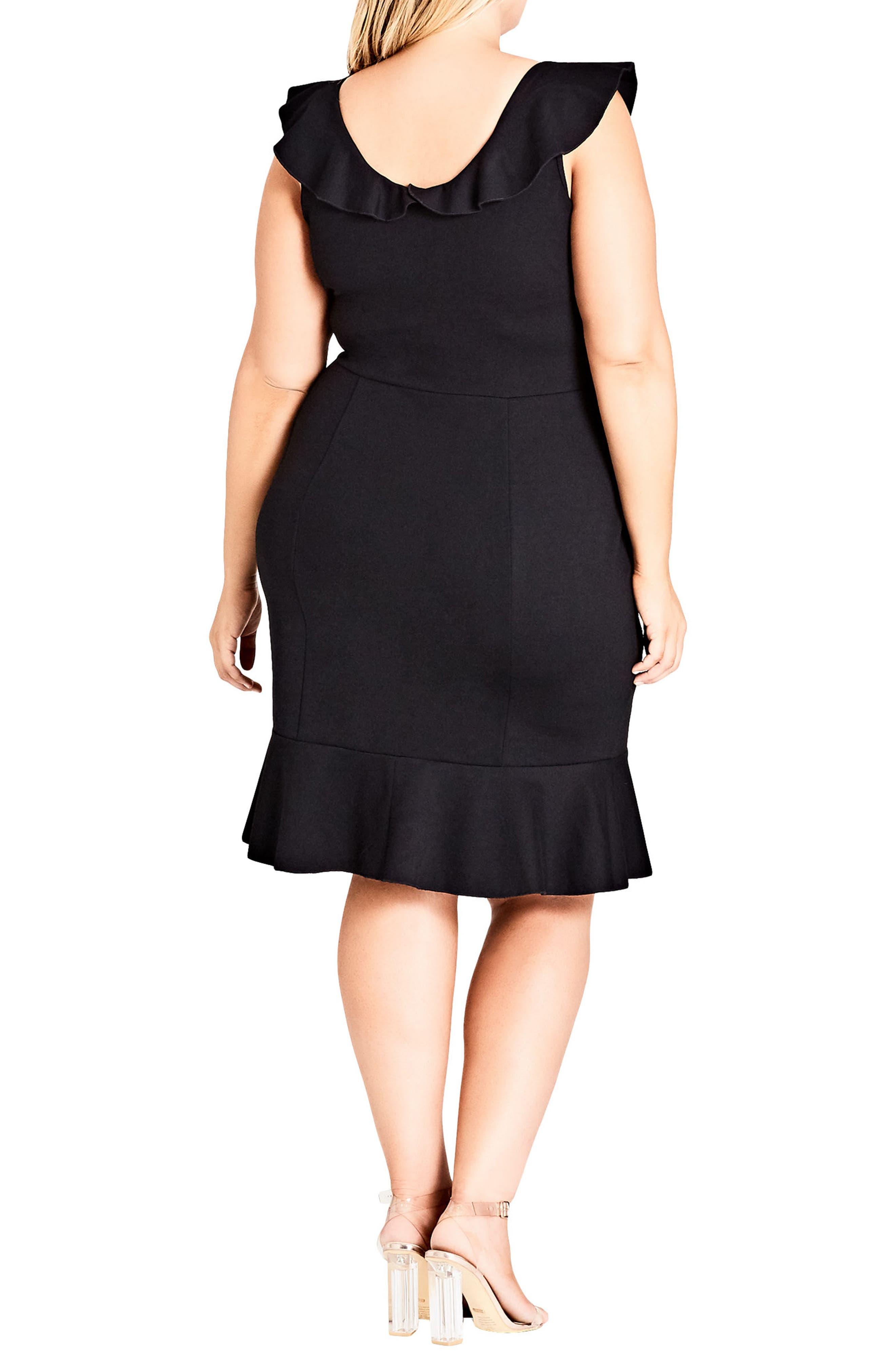 Frill Seeker Sheath Dress,                             Alternate thumbnail 2, color,                             Black