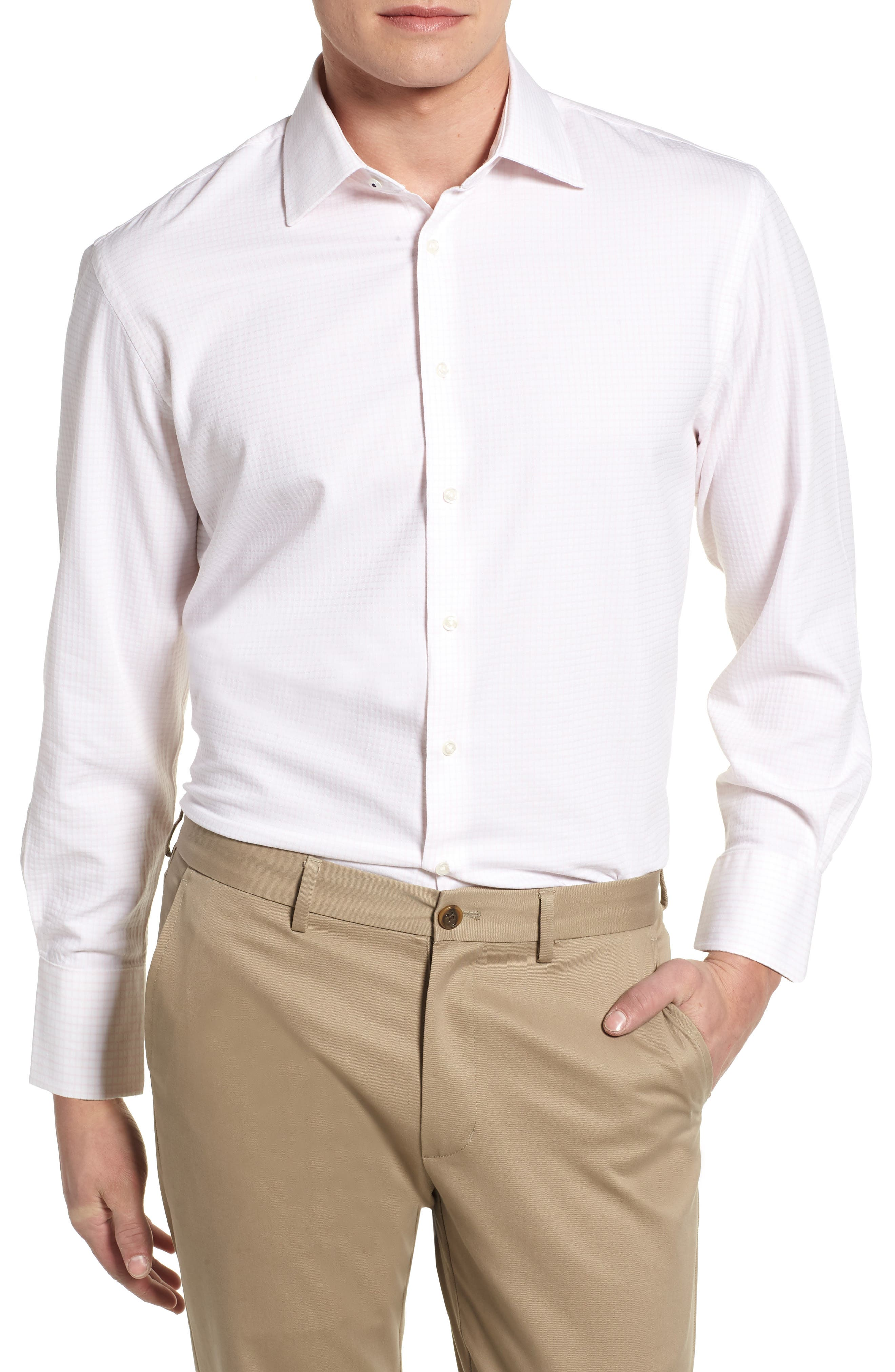 Tech-Smart Traditional Fit Stretch Tattersall Dress Shirt,                         Main,                         color, Pink Breath