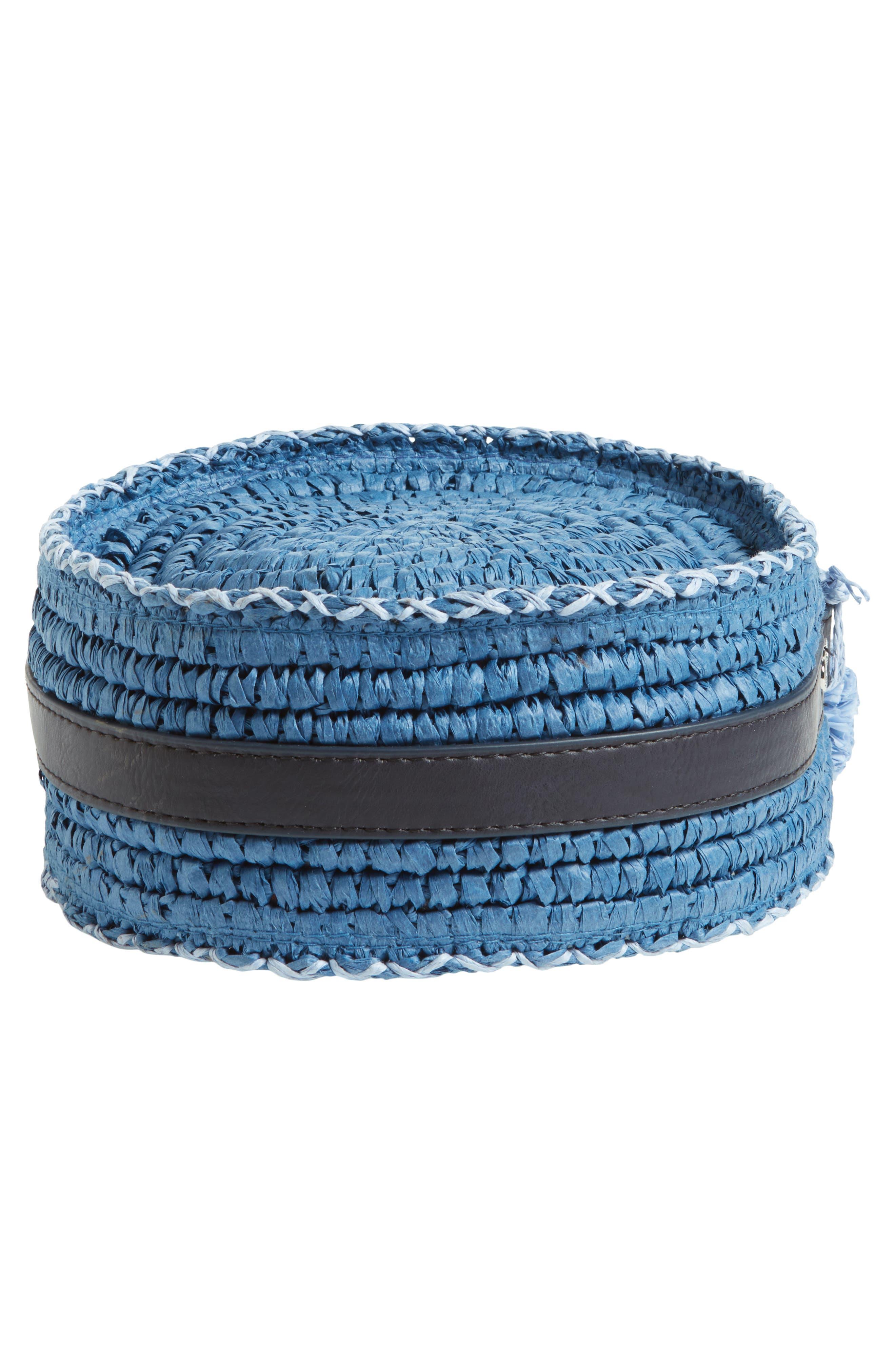 Pirro Woven Straw Crossbody Bag,                             Alternate thumbnail 6, color,                             Navy