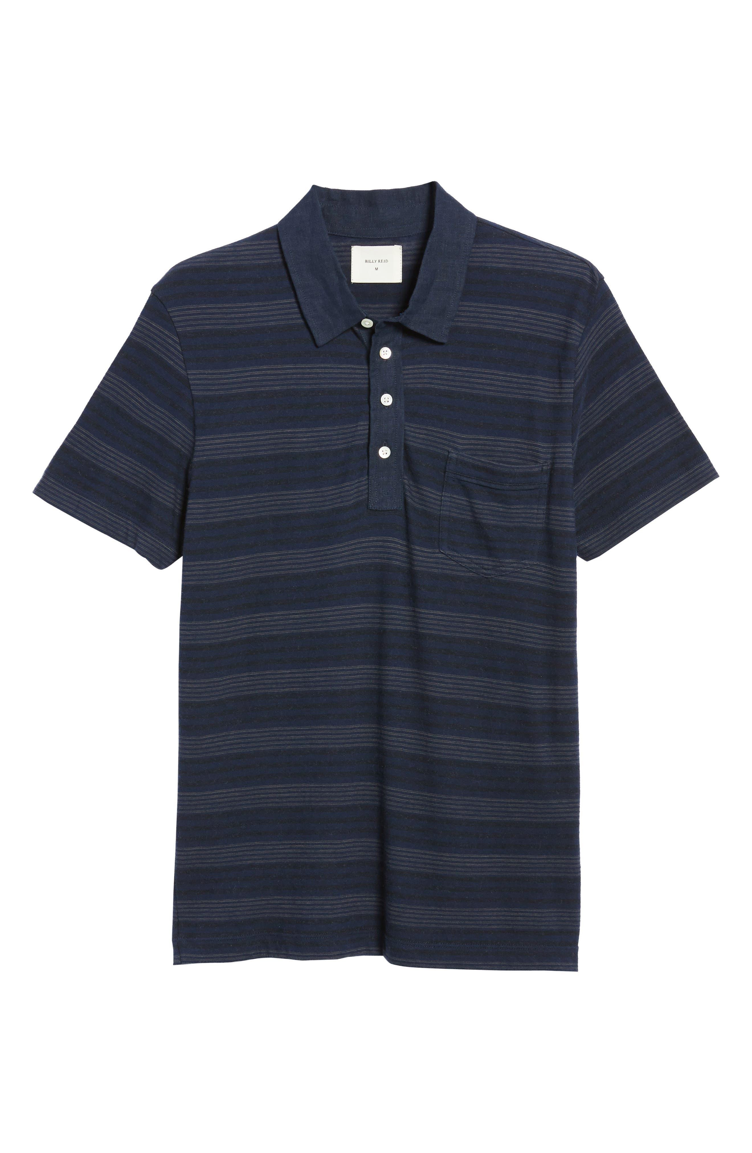 Stripe Cotton & Cashmere Polo Shirt,                             Alternate thumbnail 6, color,                             Navy