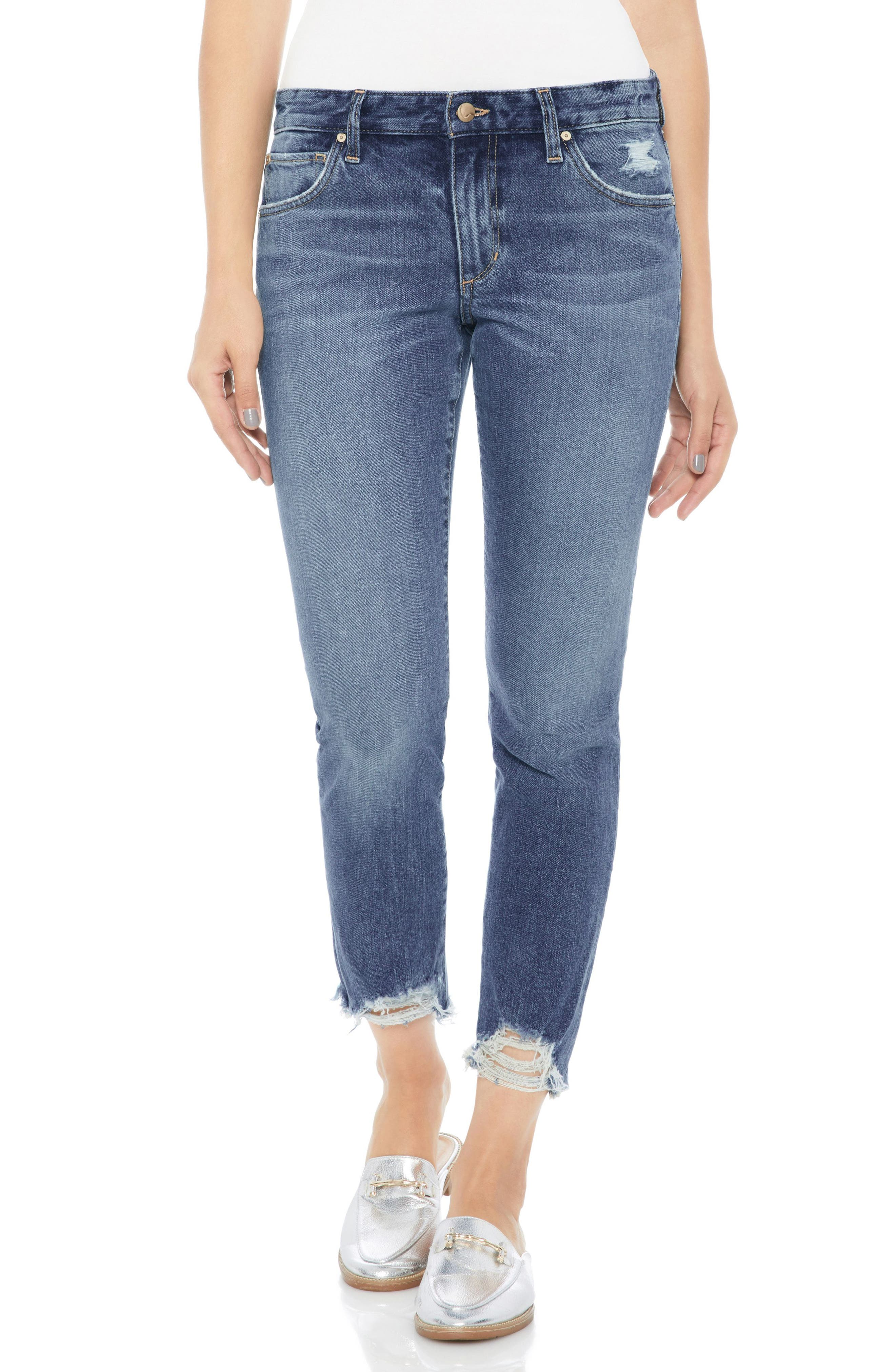 Smith Distressed Crop Straight Leg Jeans,                             Main thumbnail 1, color,                             Skyler