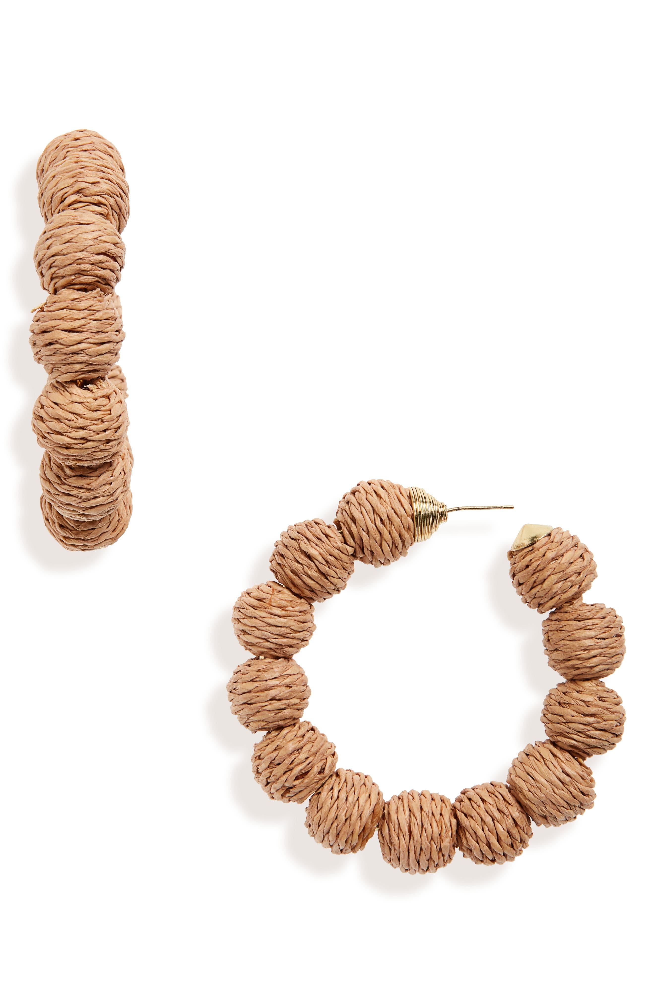 BP. Woven Bead Hoop Earrings