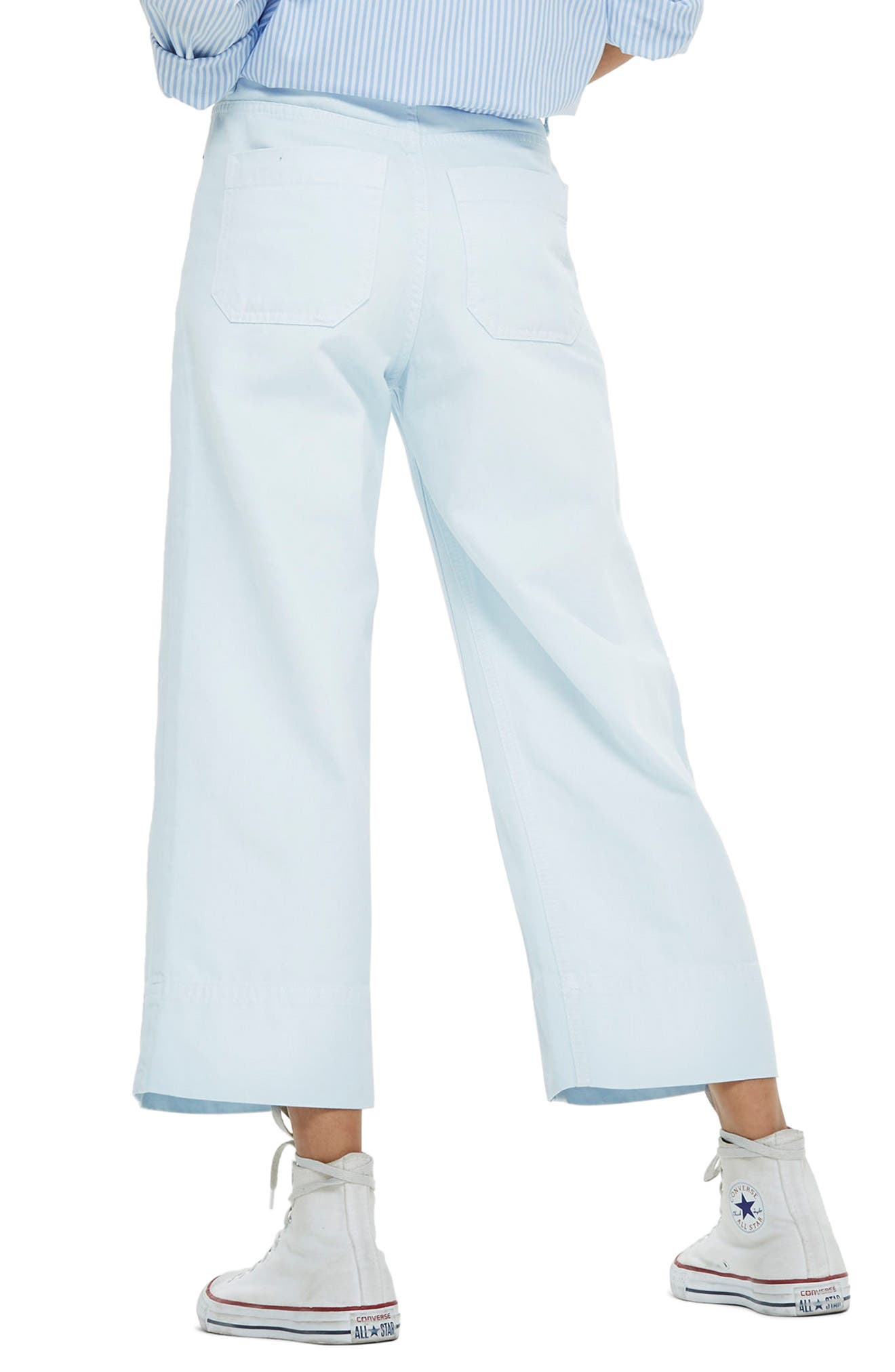 Pale Blue Crop Wide Leg Jeans,                             Alternate thumbnail 3, color,                             Light Blue
