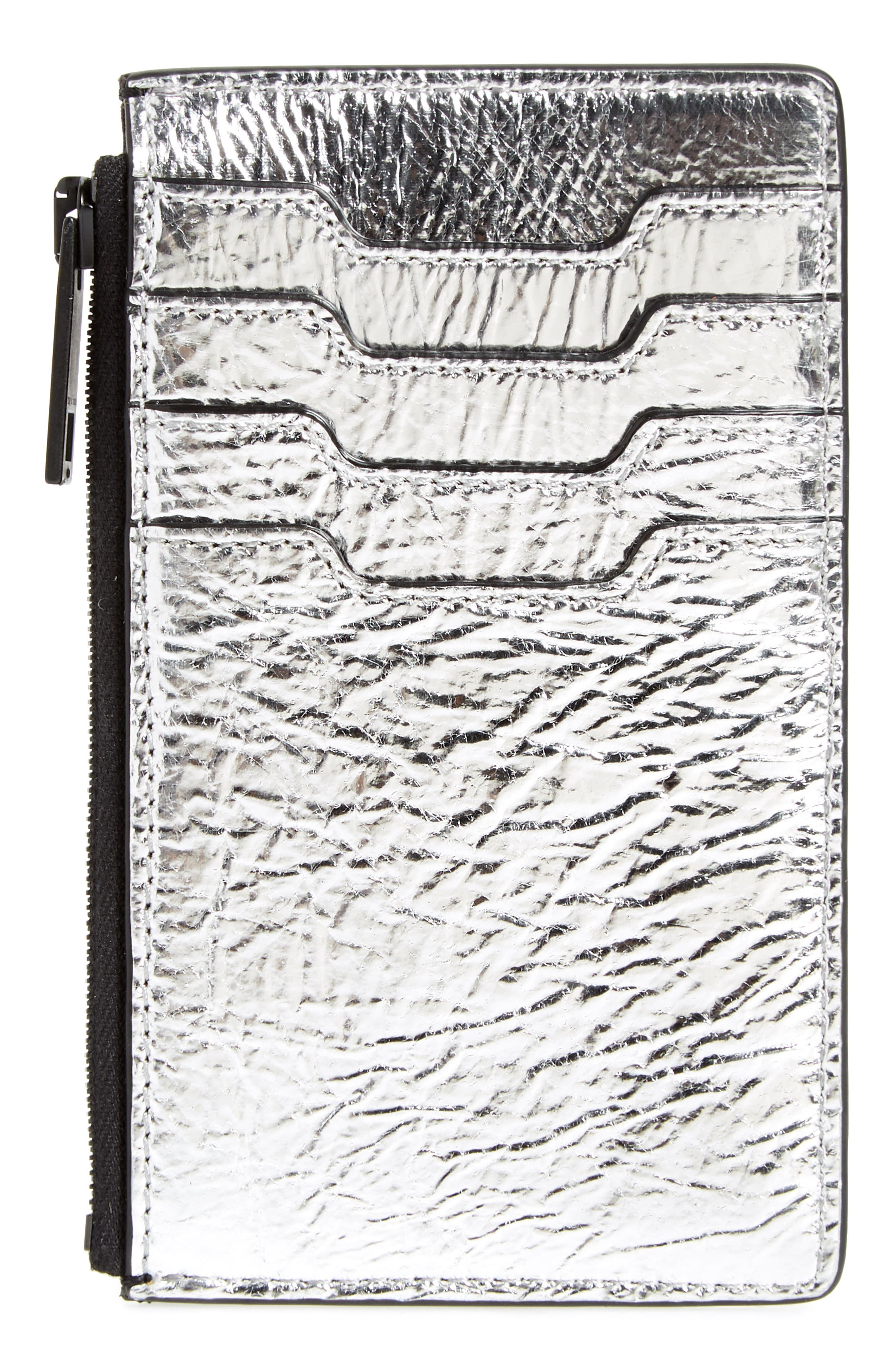metallic leather card case,                             Alternate thumbnail 2, color,                             Silver