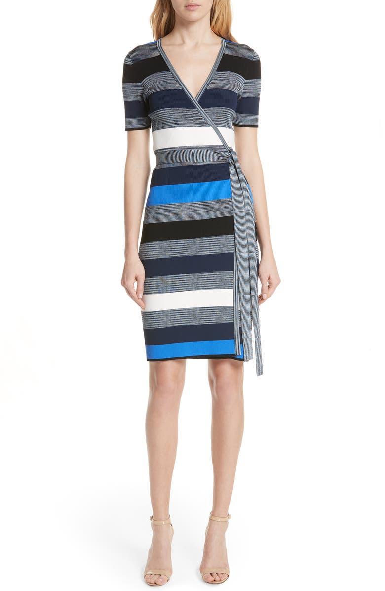 Diane von Furstenberg Stripe Knit Wrap Dress