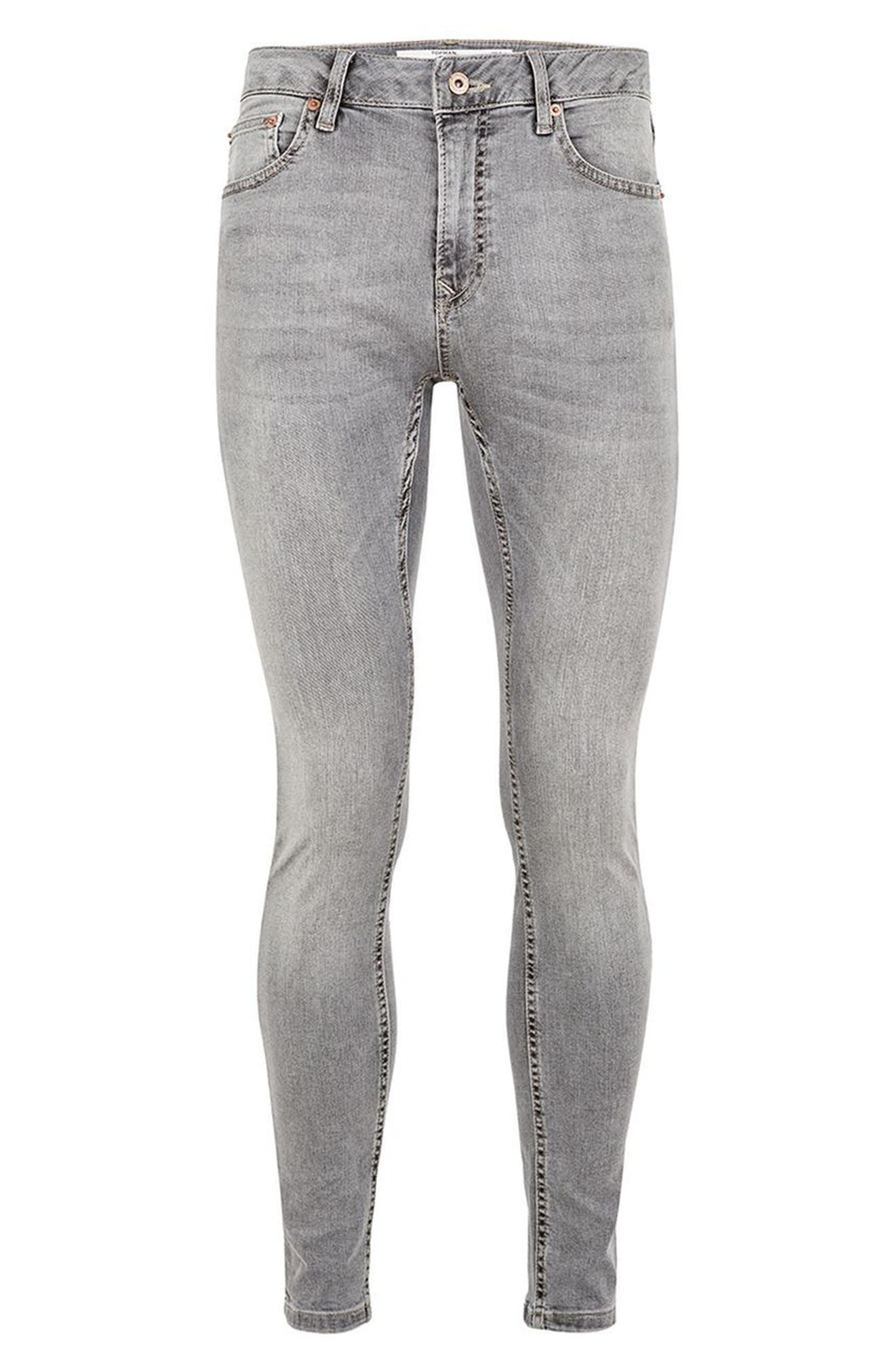 Spray-On Skinny Fit Jeans,                             Alternate thumbnail 4, color,                             Grey